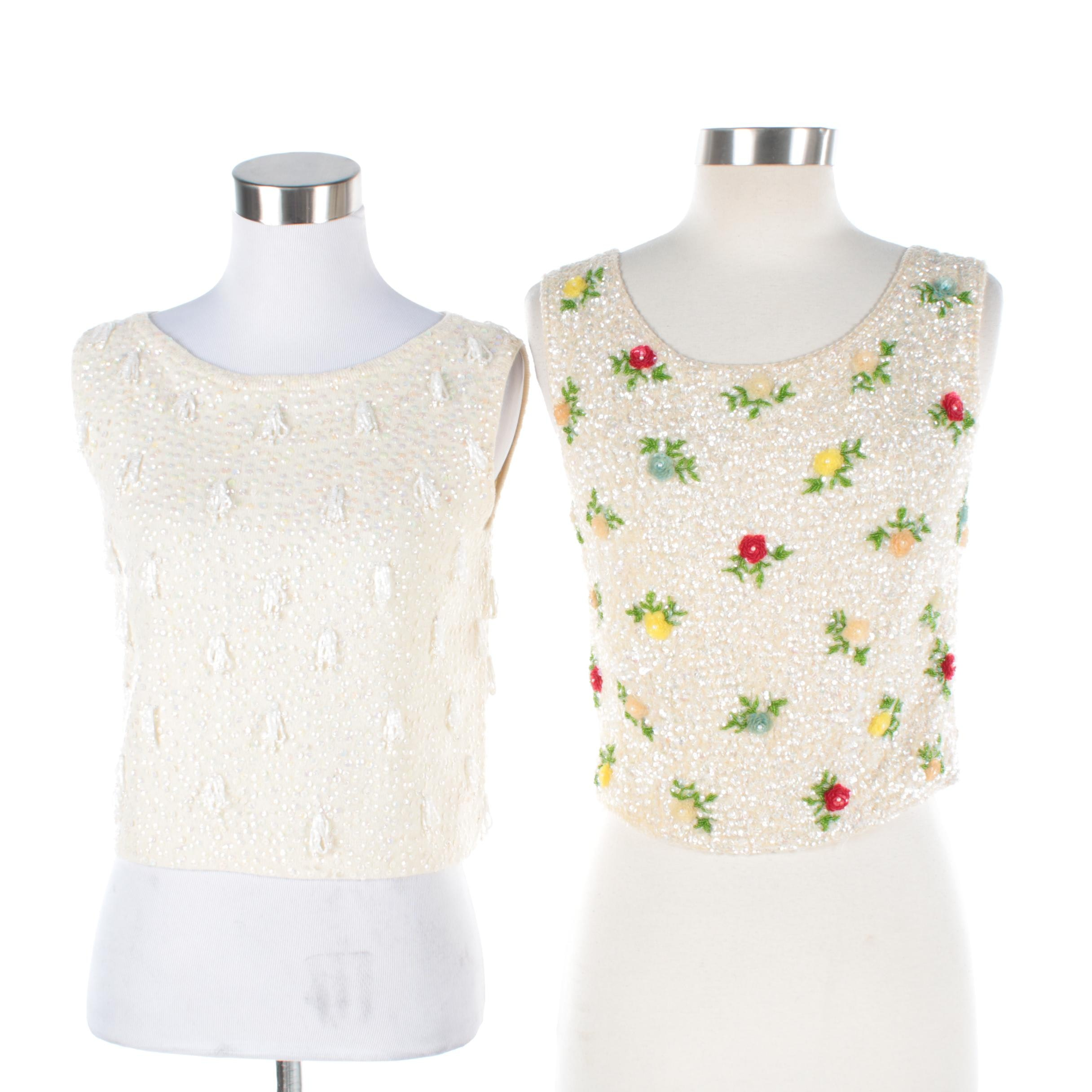 Circa 1950s Vintage Beaded Wool Sleeveless Tops Including House of Gold