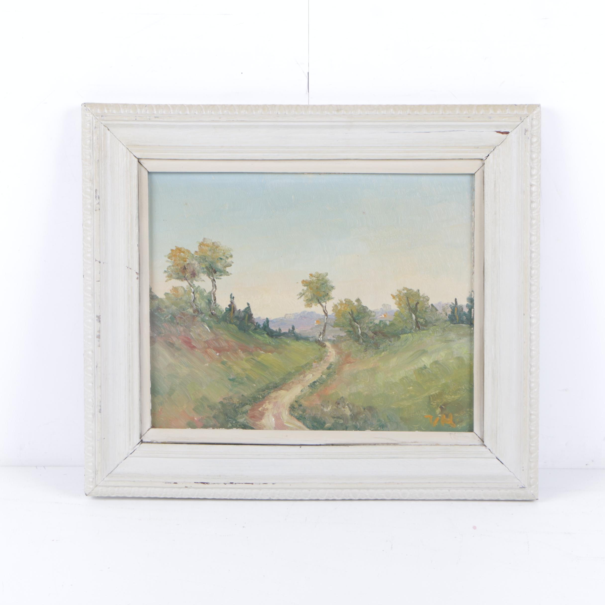 V. Hartnack 1920s Oil Painting of Impressionist Style Landscape