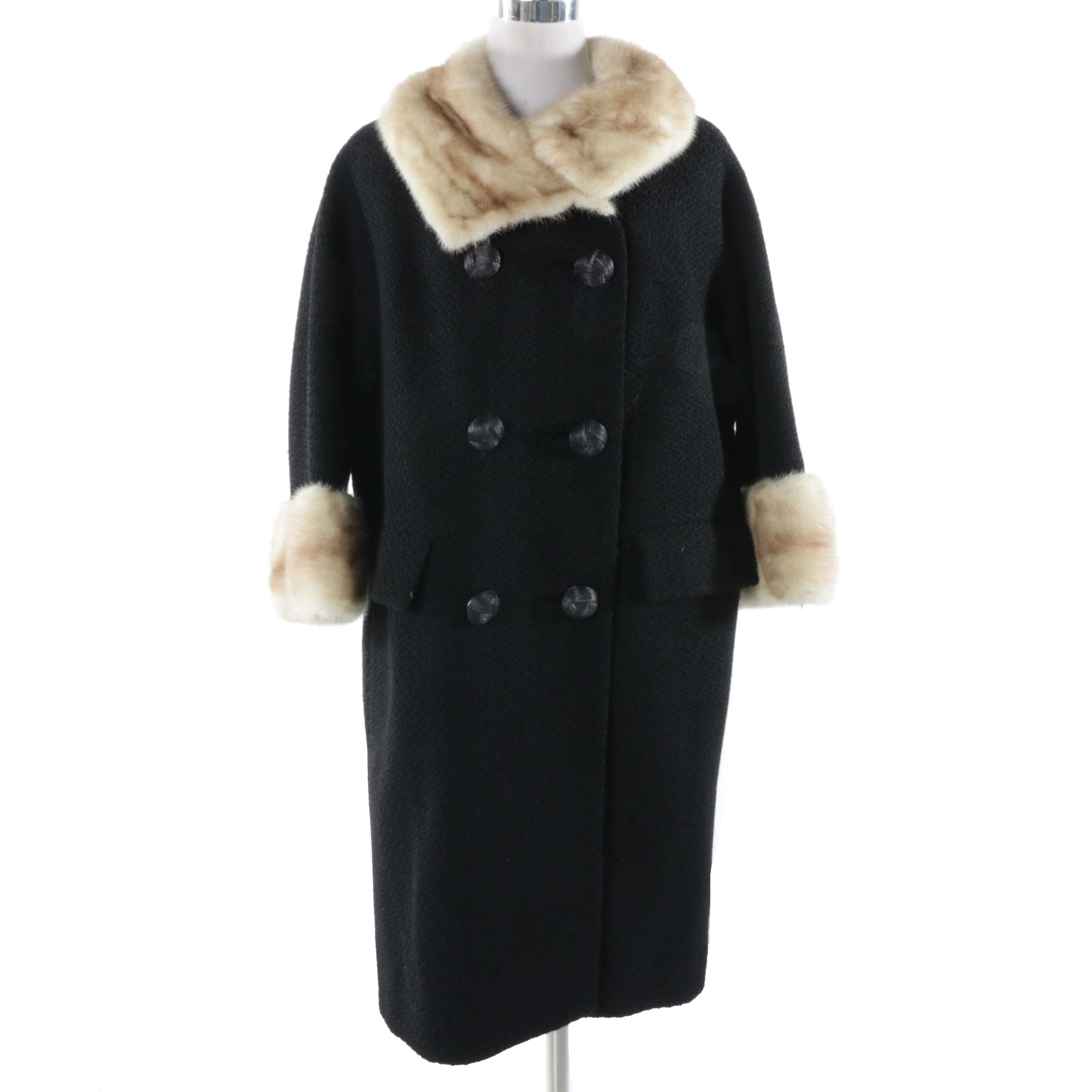 Vintage Boucle Coat with Mink Collar and Cuffs