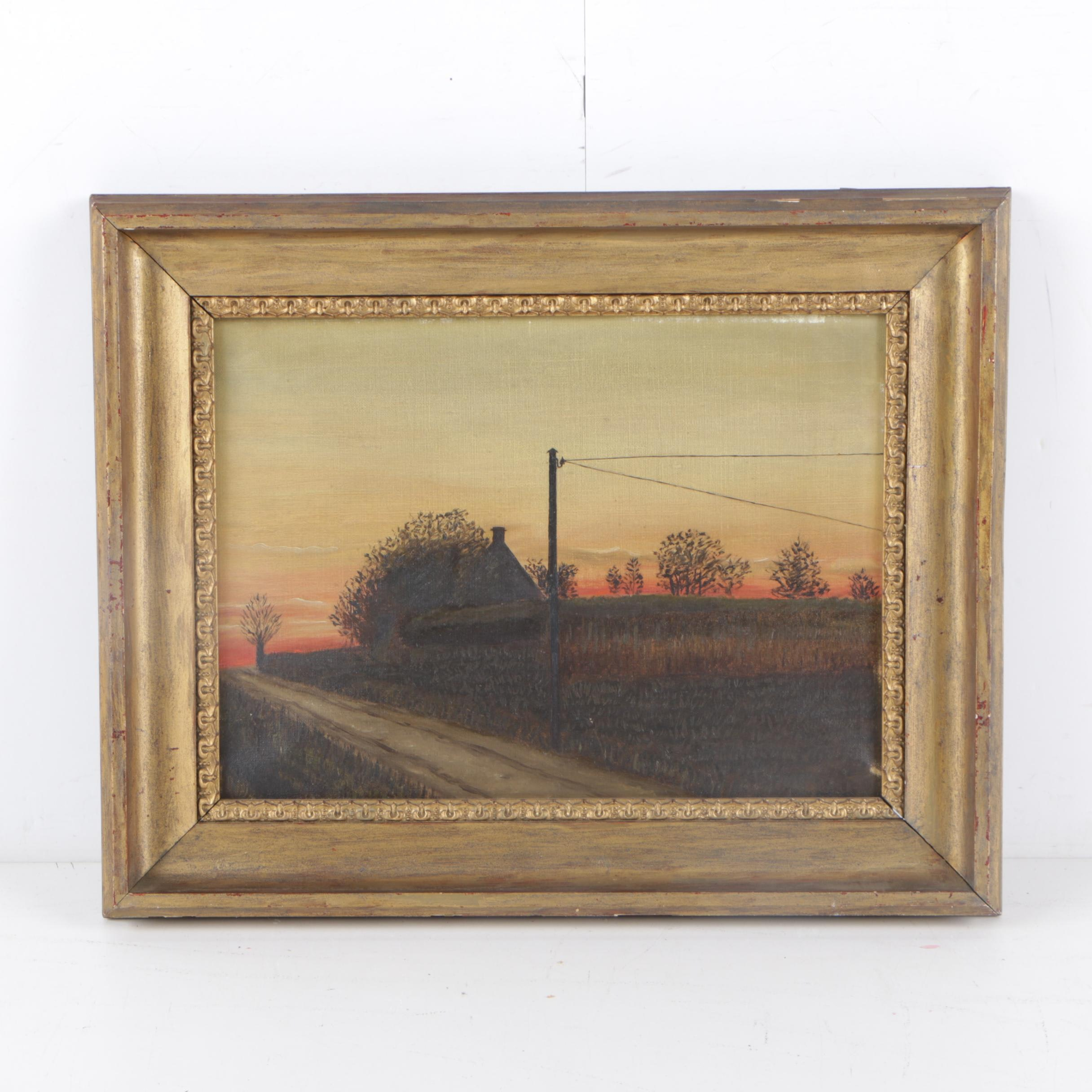 Mid Century Oil Painting of Rural Landscape at Twilight