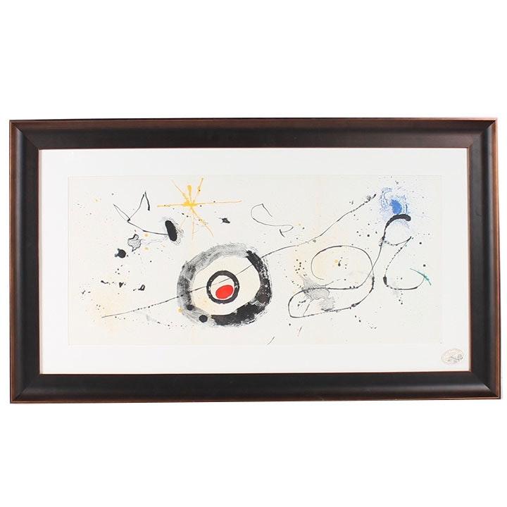 """Joan Miró Triple Page Lithograph for 1963 """"Derrière le Miroir"""" Magazine"""