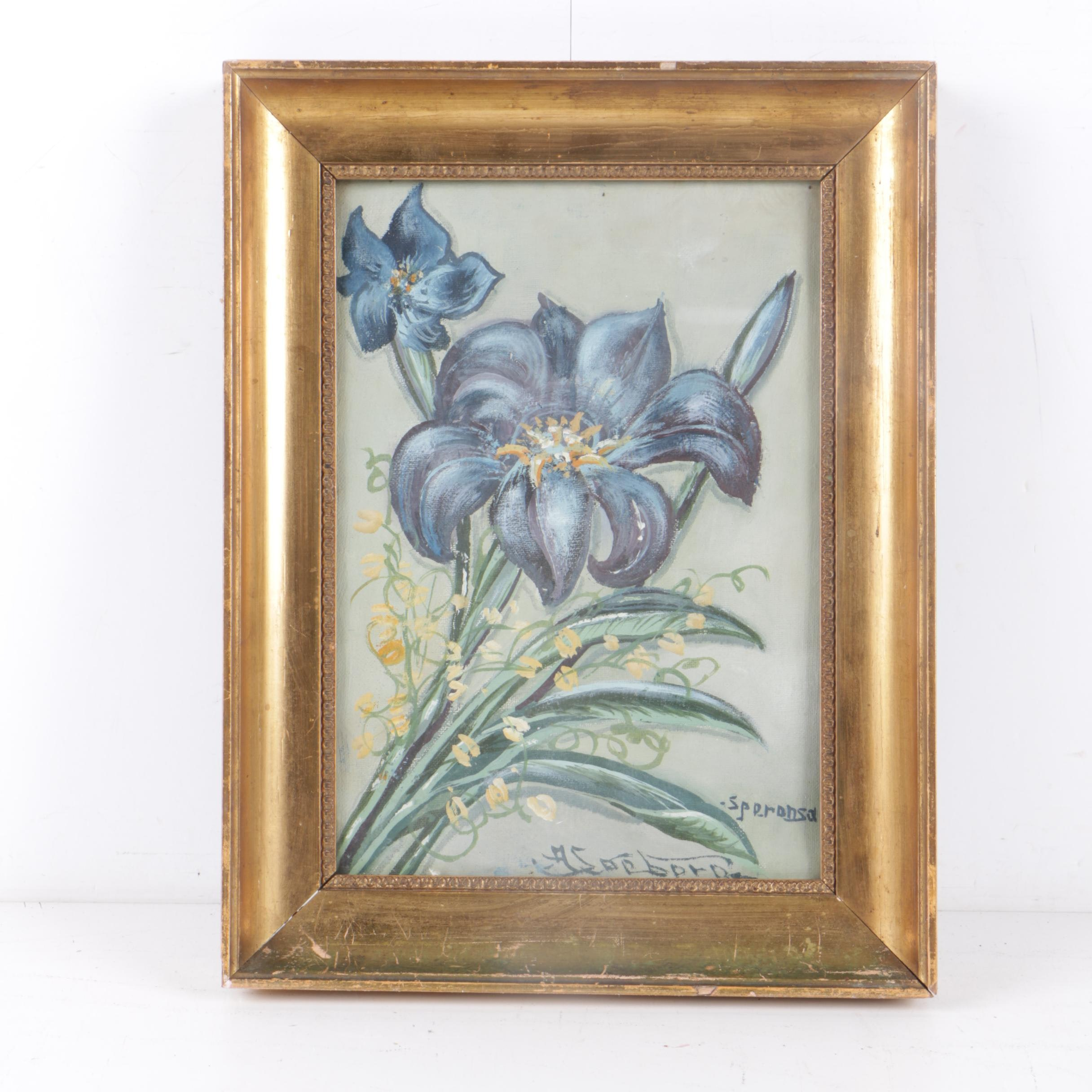A. Soeborg Mid Century Oil Painting of Blue and Yellow Flowers