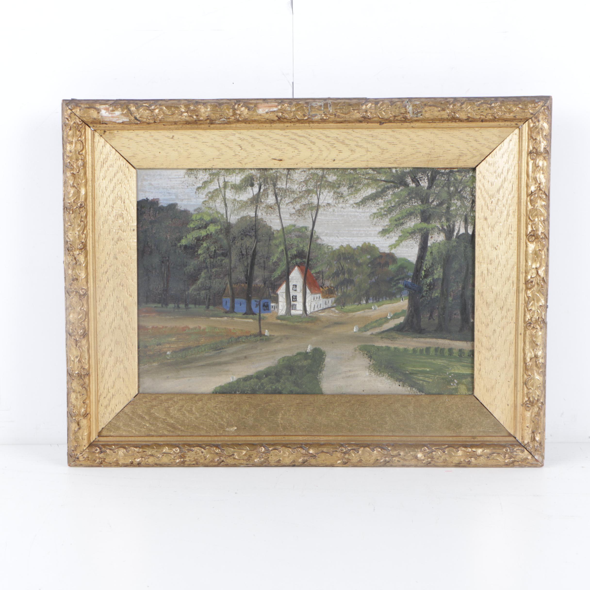 Mid Century Oil Painting of Scandinavian Landscape