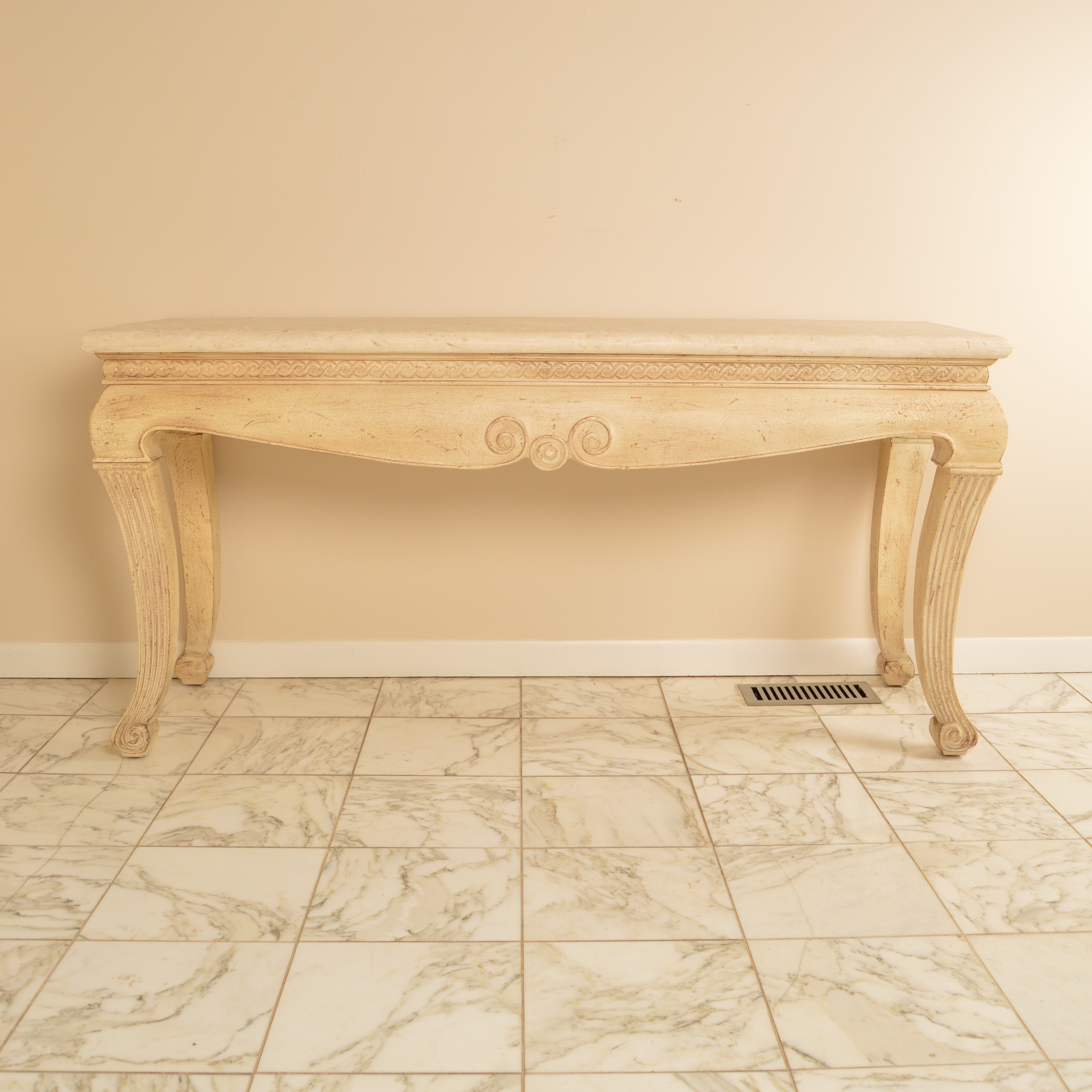 Faux Travertine Console Table