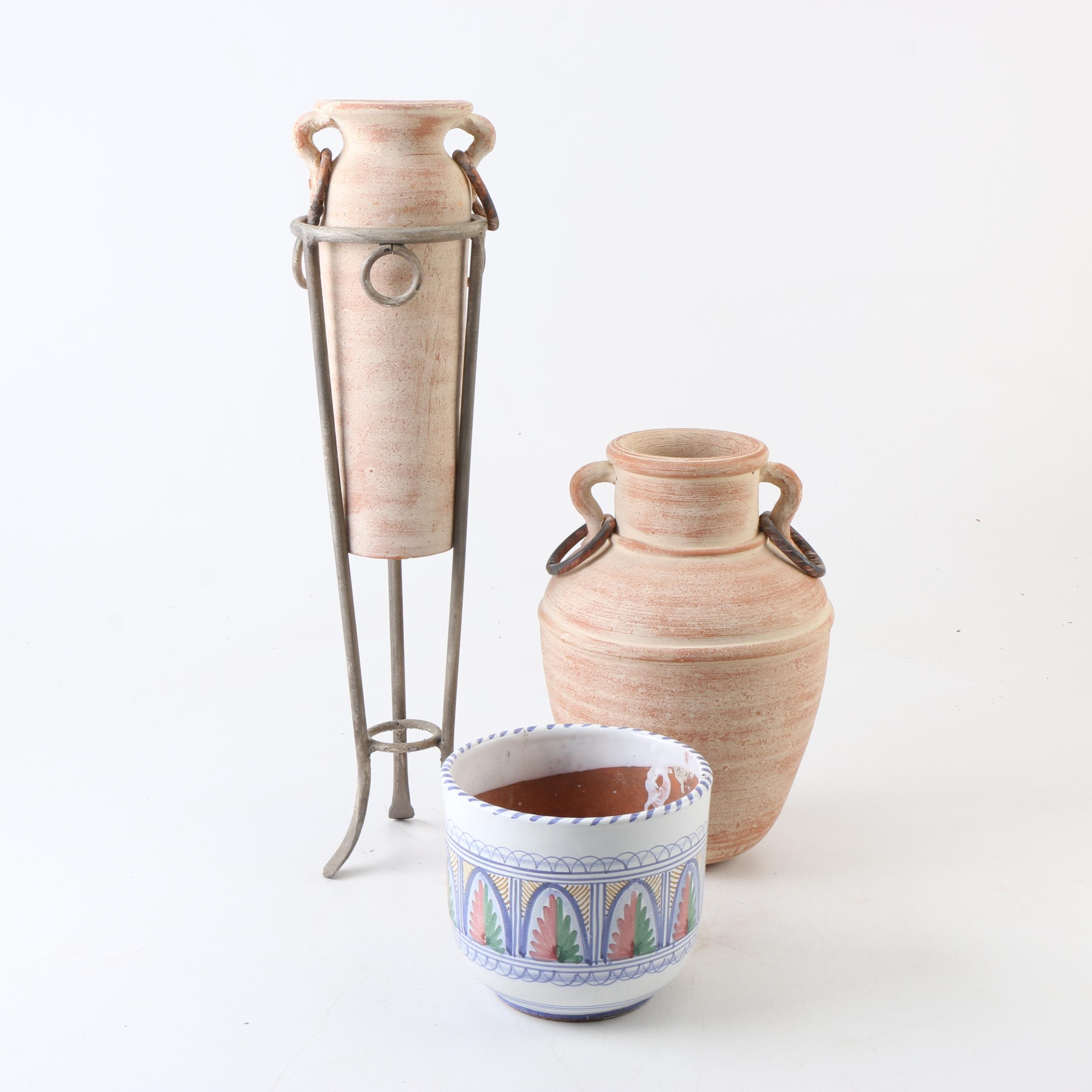 Ceramic Vases and Stand