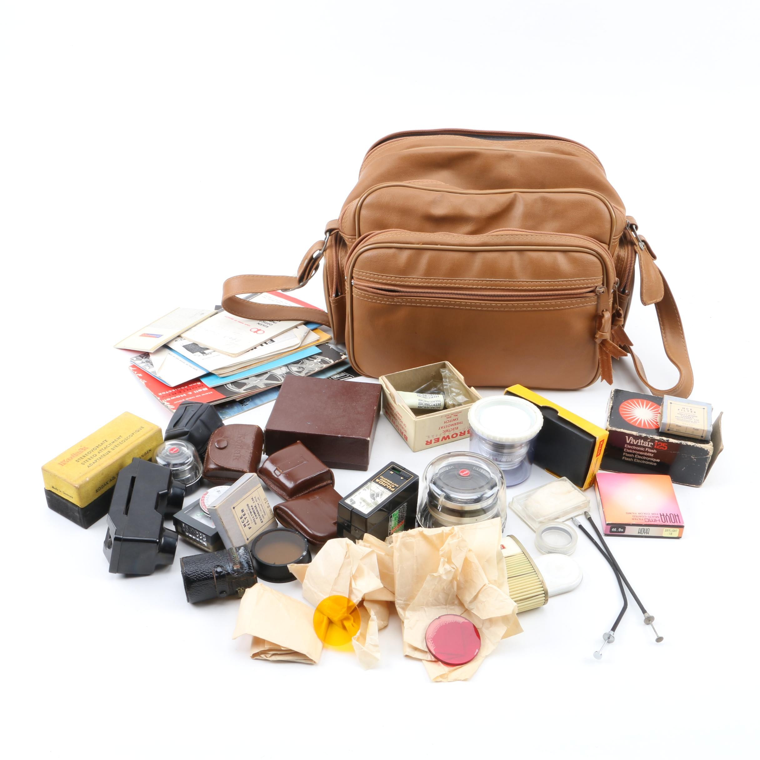 Vintage Camera Bag and Photography Accessories