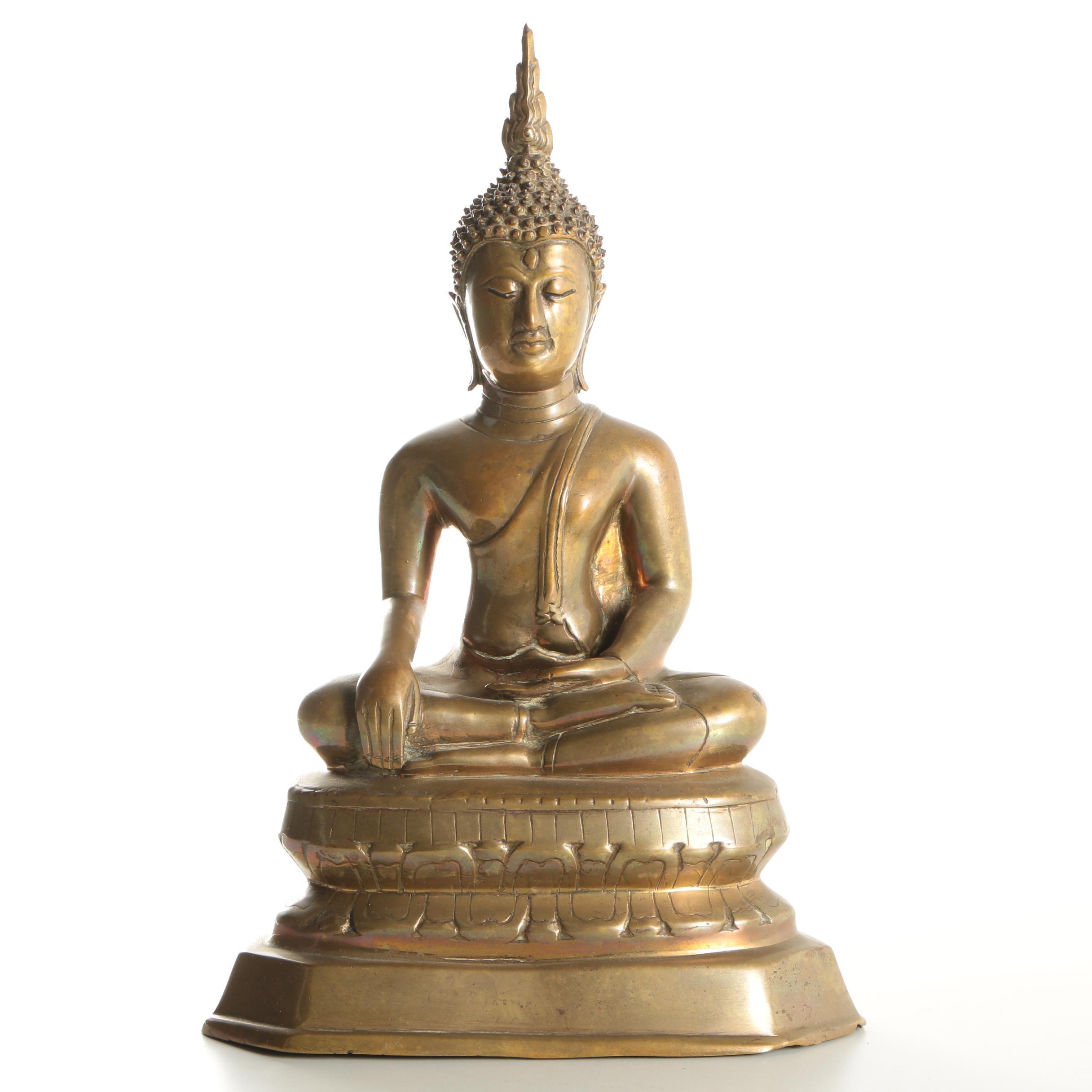 Southeast Asian Brass Buddha Sculpture