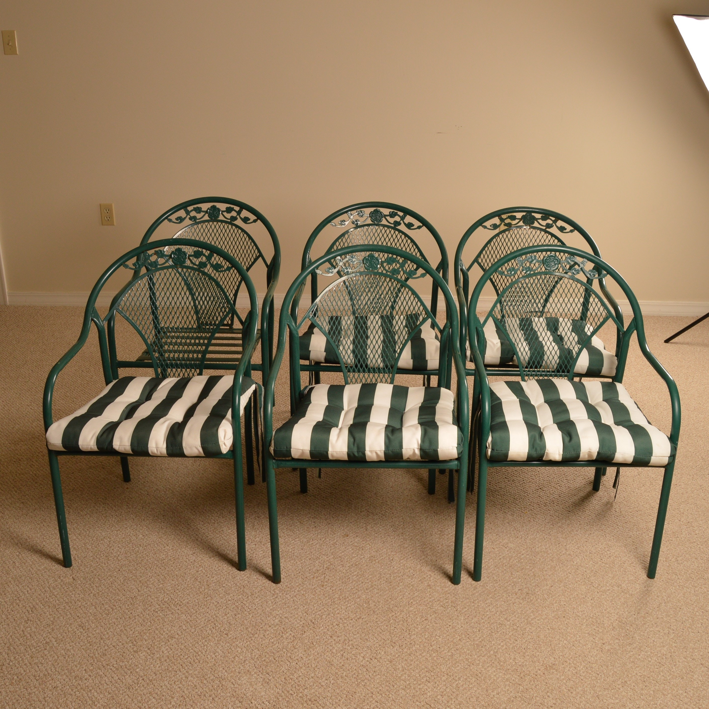 Six Green Metal Patio Chairs with Striped Cushion Seat