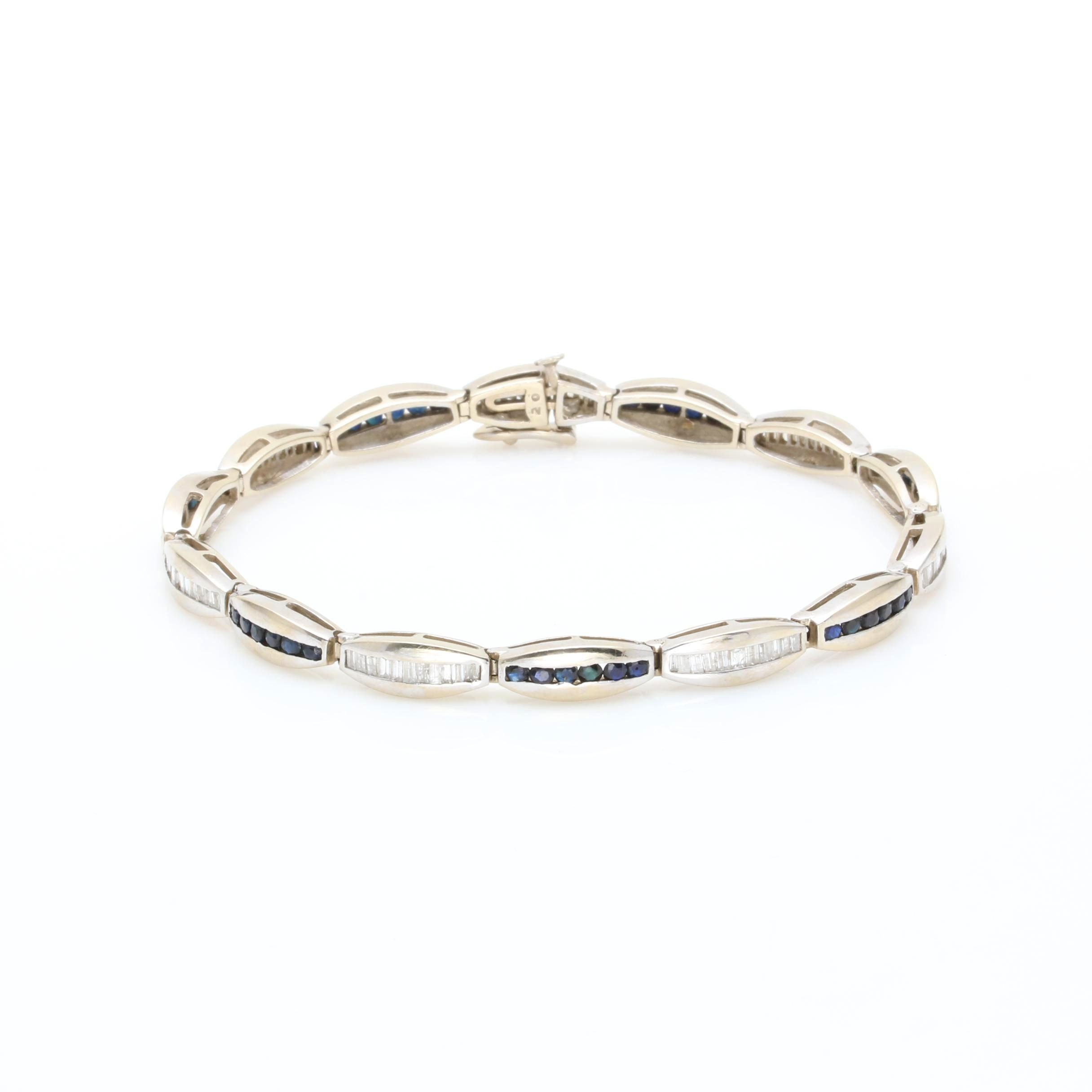 14K White Gold Diamond and Blue Sapphire Tennis Bracelet