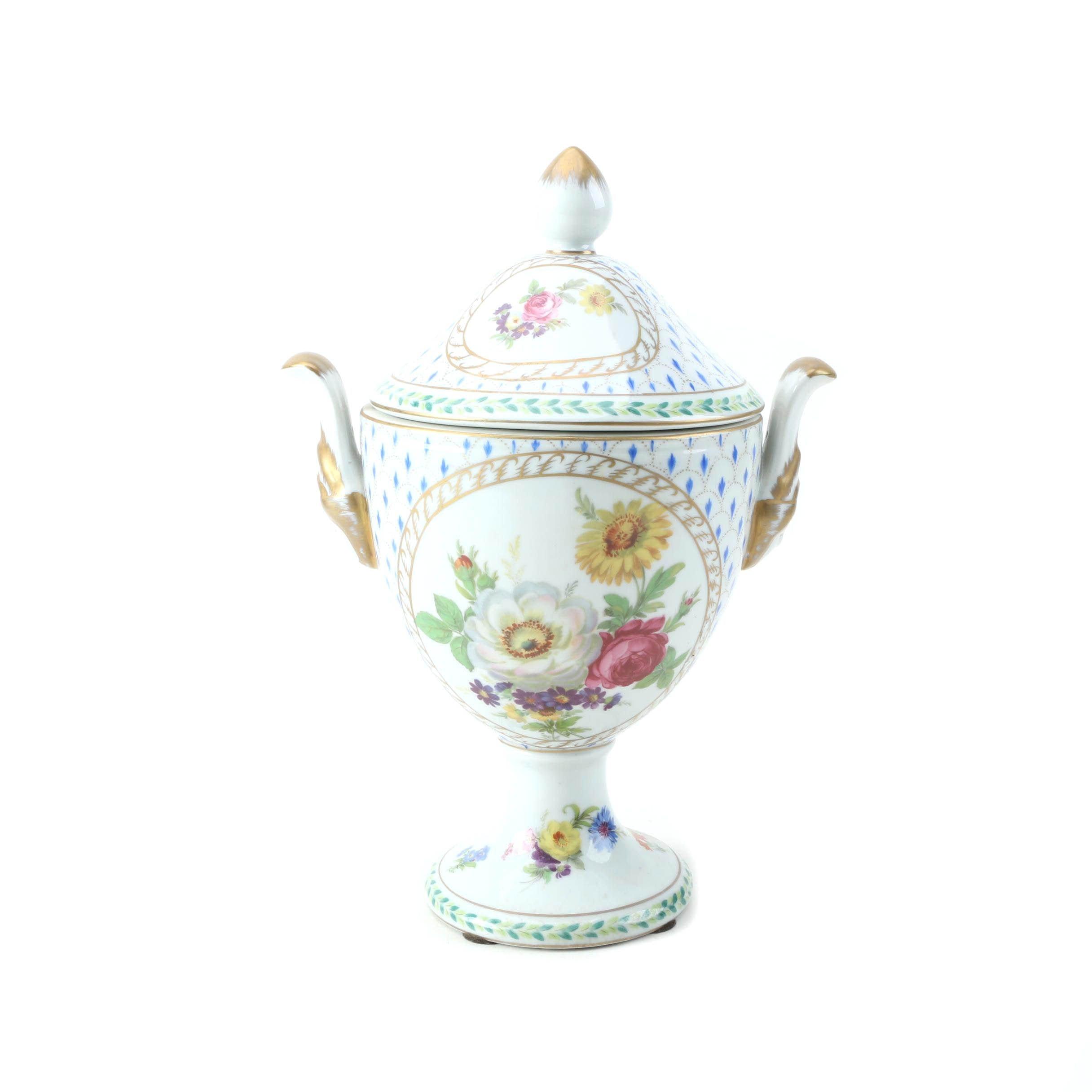 Lidded Ceramic Floral Print Urn