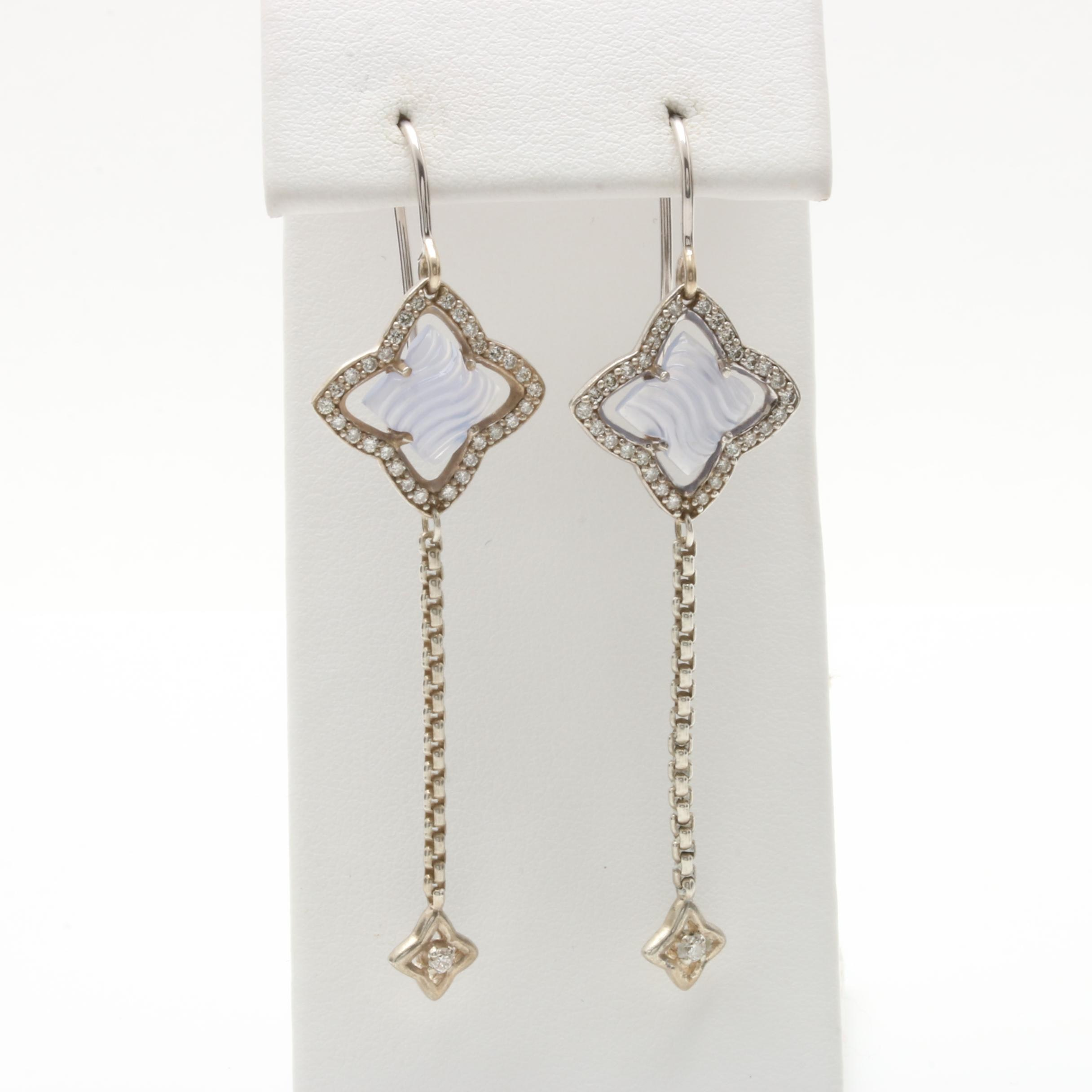 David Yurman Sterling Silver and 18K White Gold Chalcedony and Diamond Earrings