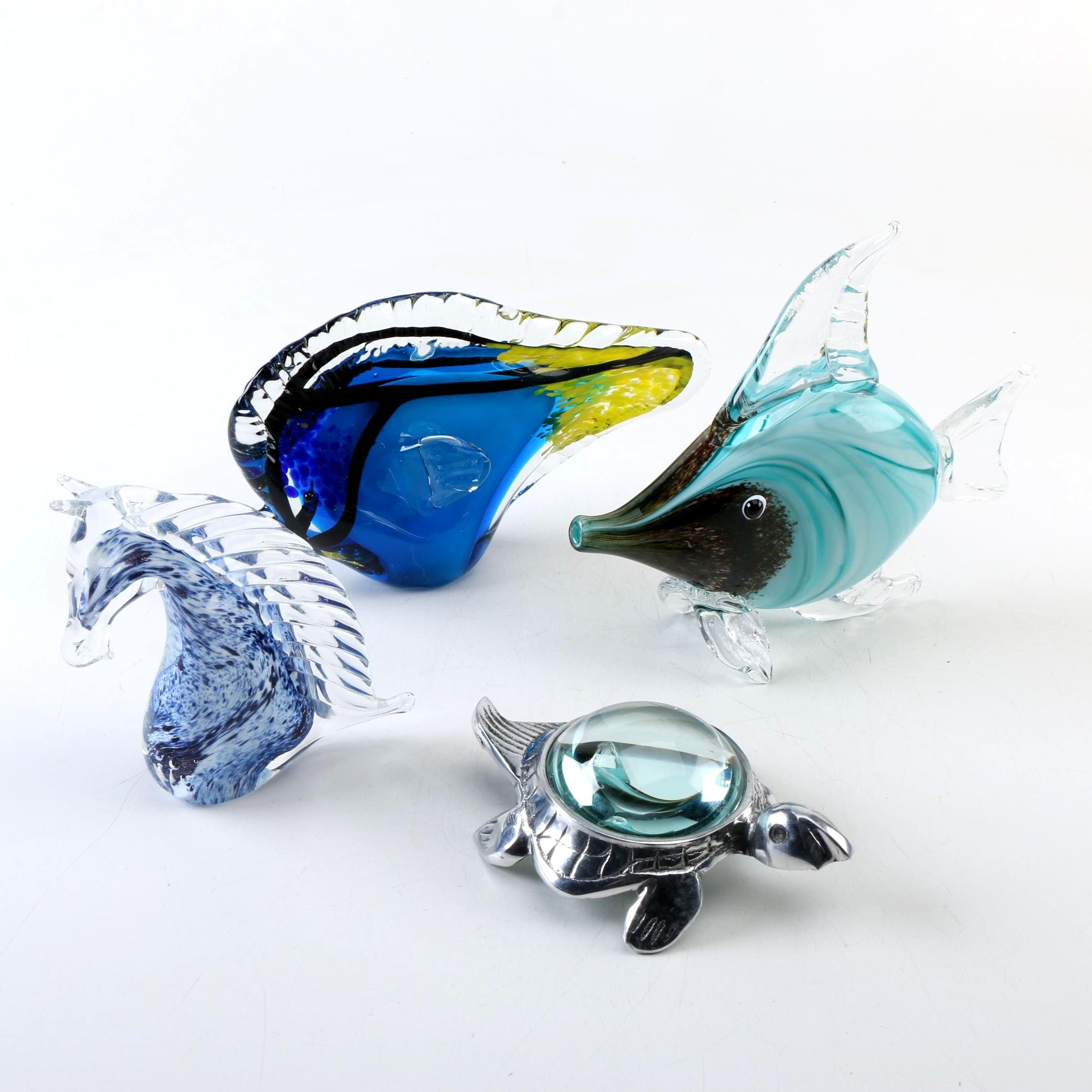 Glass and Metal Animal Figurines