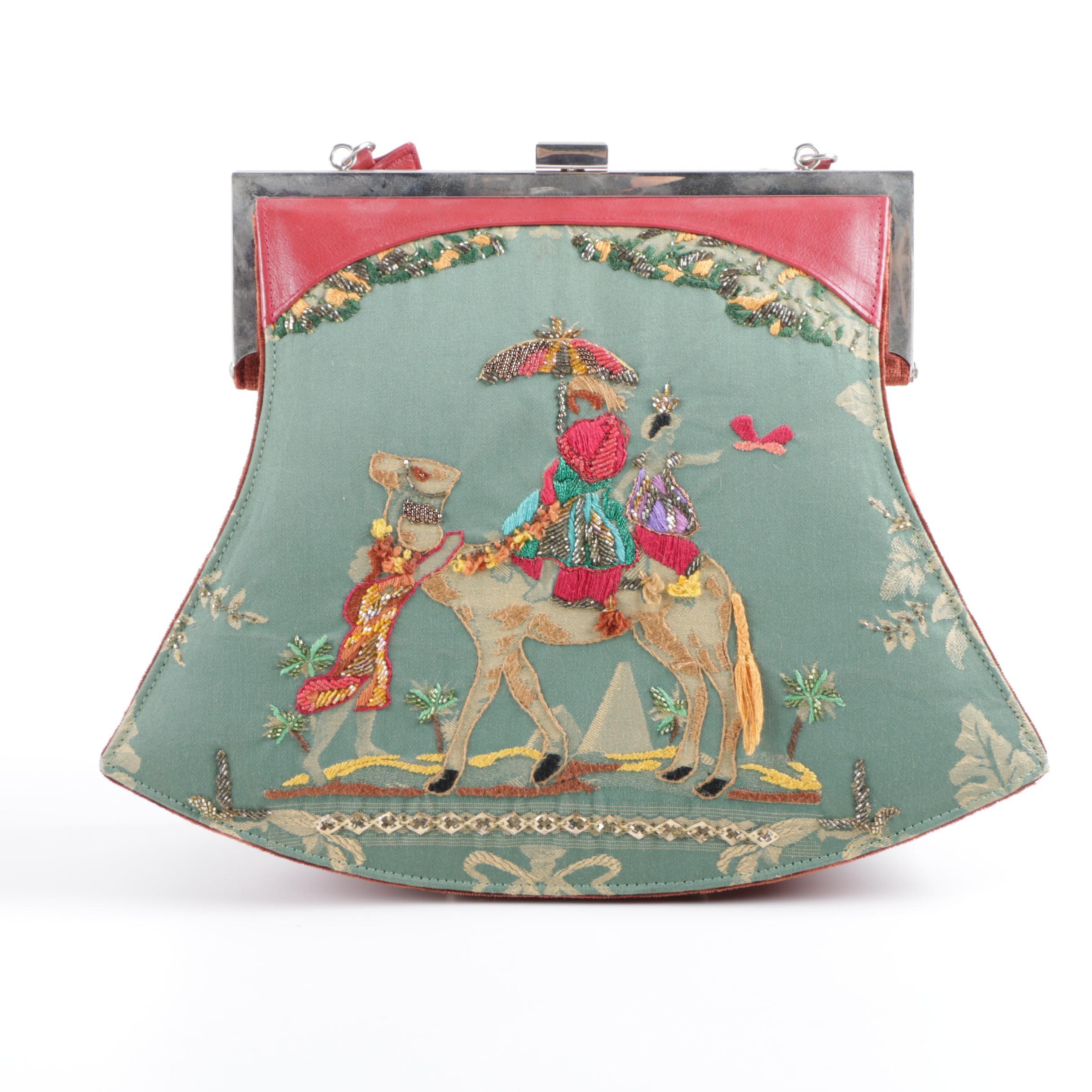 Pat Vini Embroidered Top Handle Handbag with Camel Motif