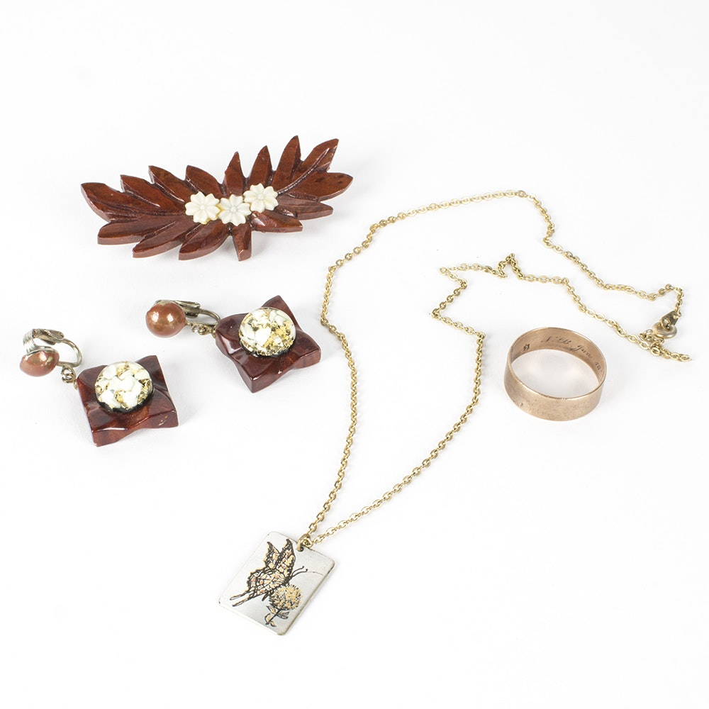 Wood and Tri Color Metal Costume Jewelry