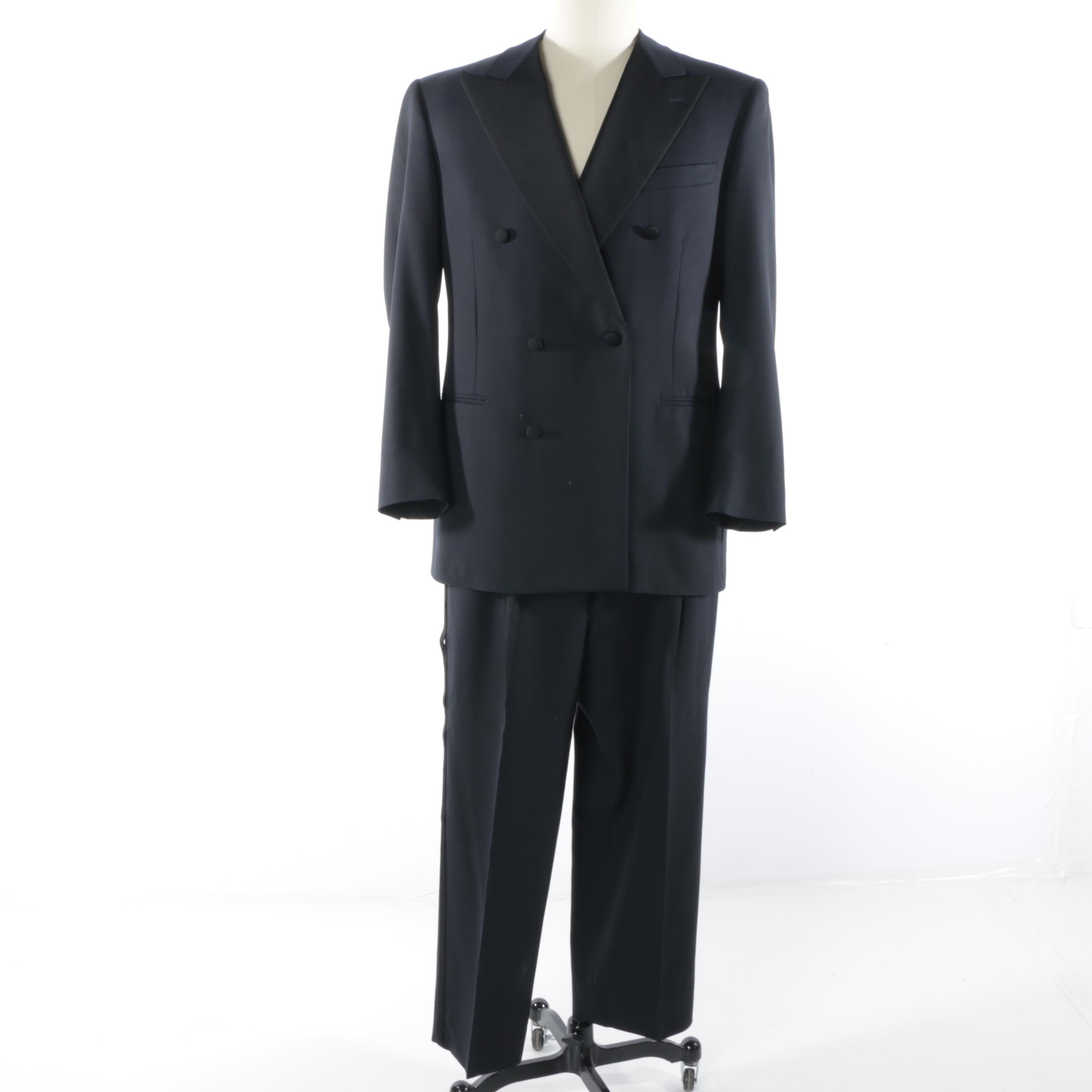 Men's Canali Proposta Double-Breasted Navy Wool Tuxedo