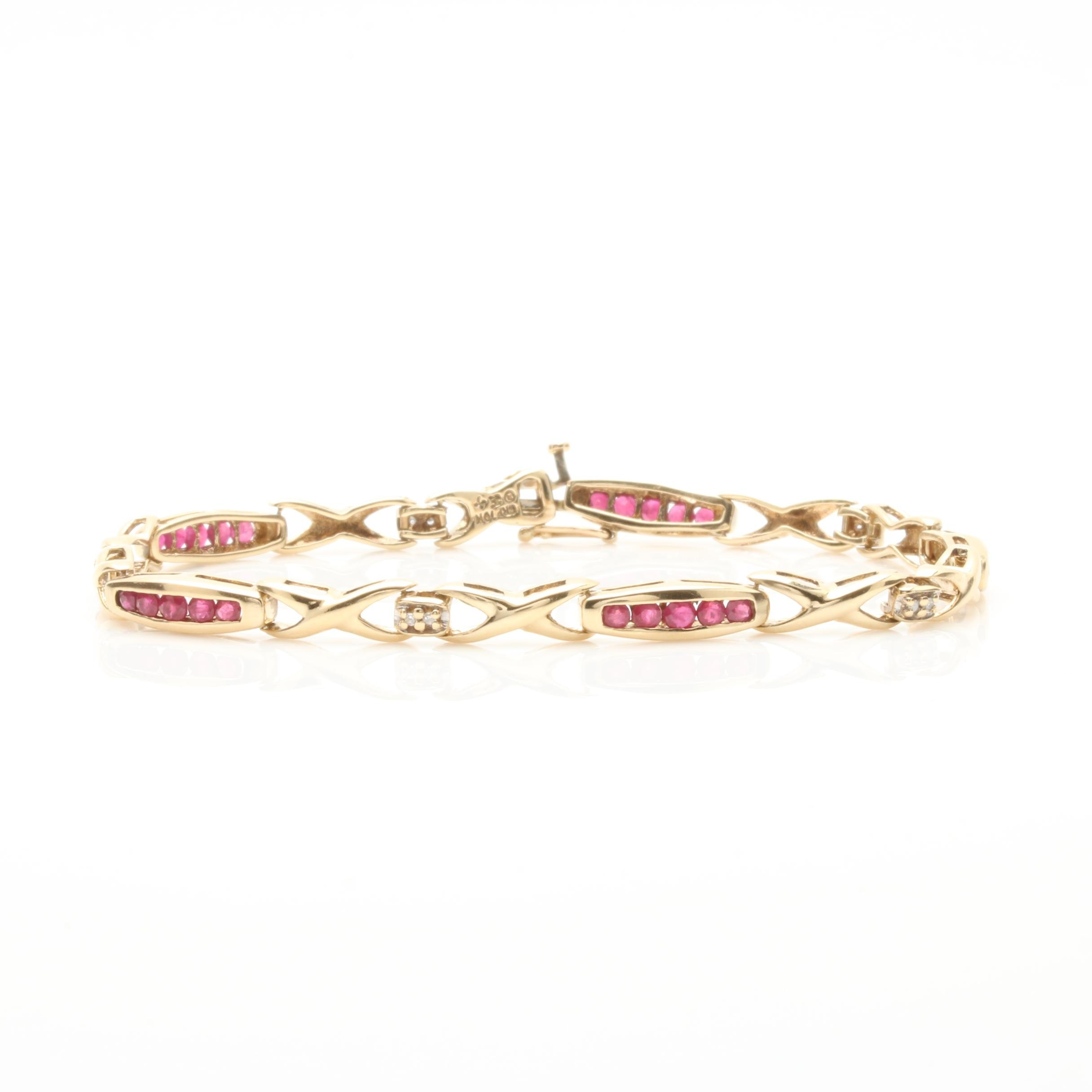 10K Yellow Gold Ruby and Diamond Bracelet