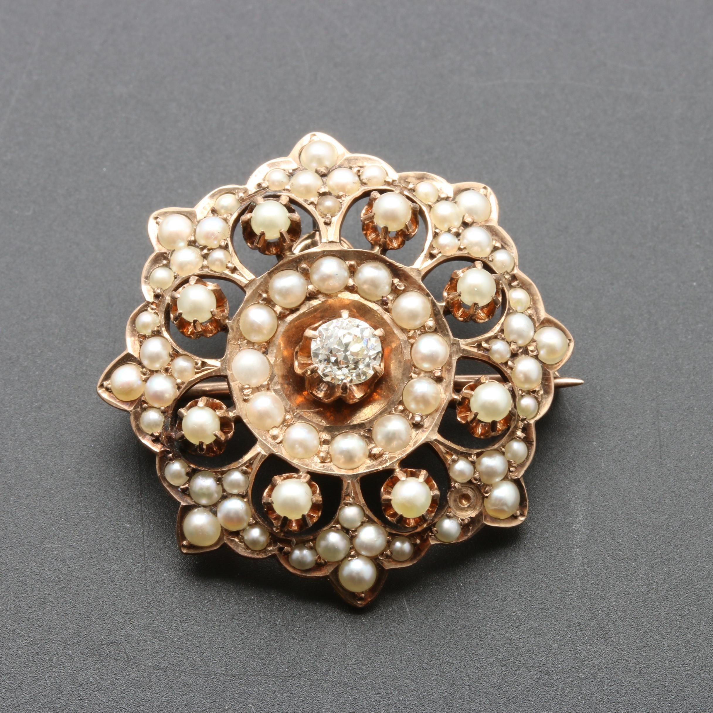 Victorian 10K Yellow Gold Diamond and Cultured Pearl Converter Brooch