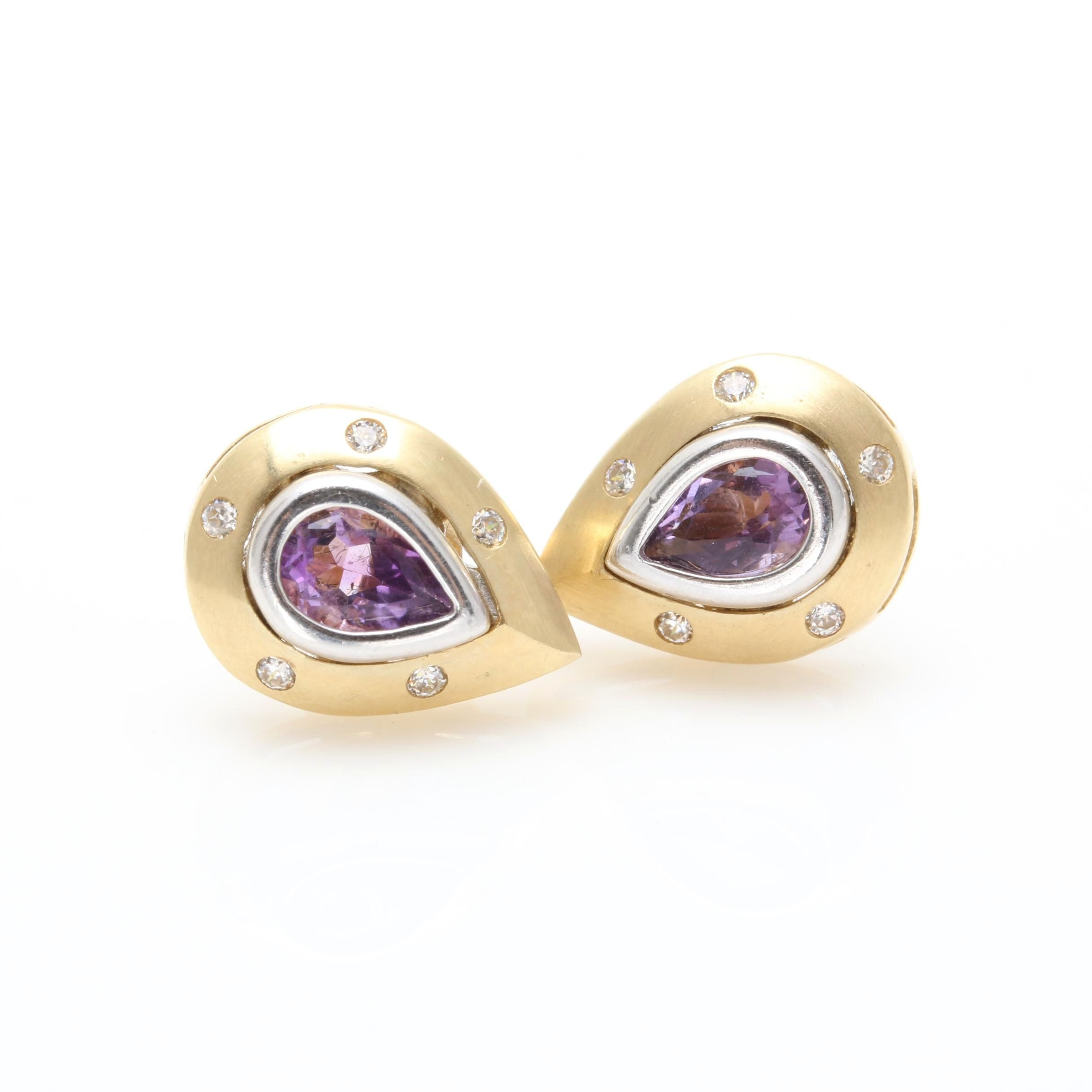 14K Yellow Gold Amethyst and Cubic Zirconia Earrings With White Gold Accents