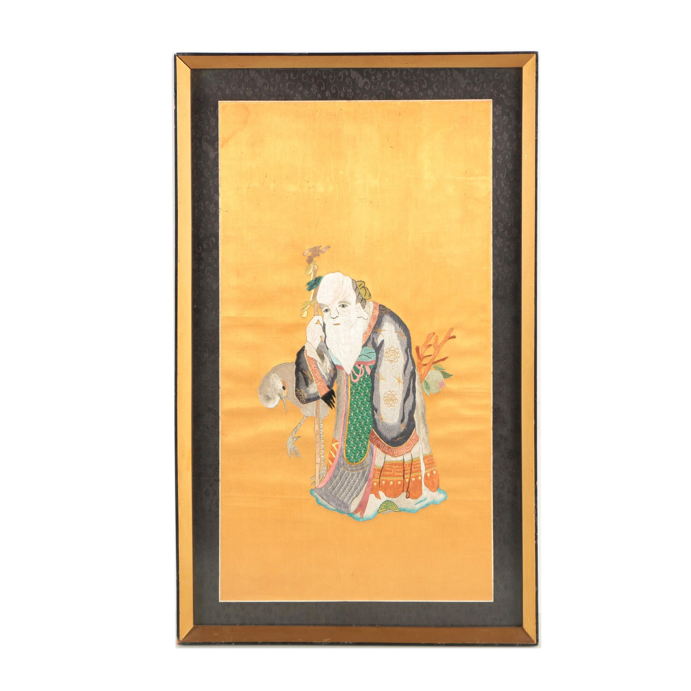 Chinese Handmade Silk Embroidery of the God of Longevity with a Crane