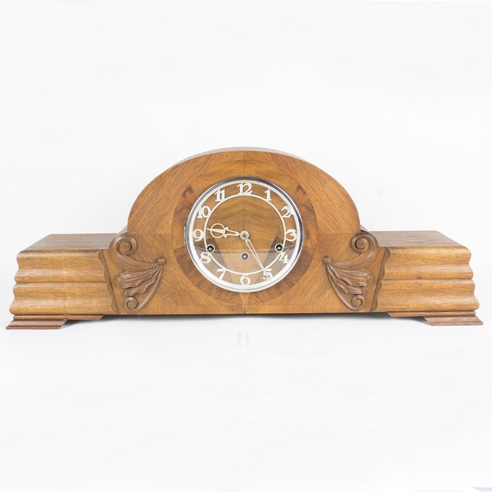 Art Deco Wood Mantel Clock