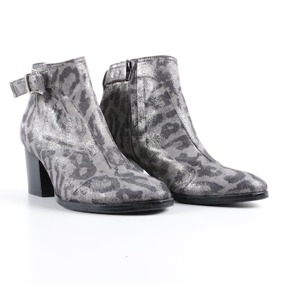 Thakoon Addition Leopard Print Leather Ankle Boots with Buckles