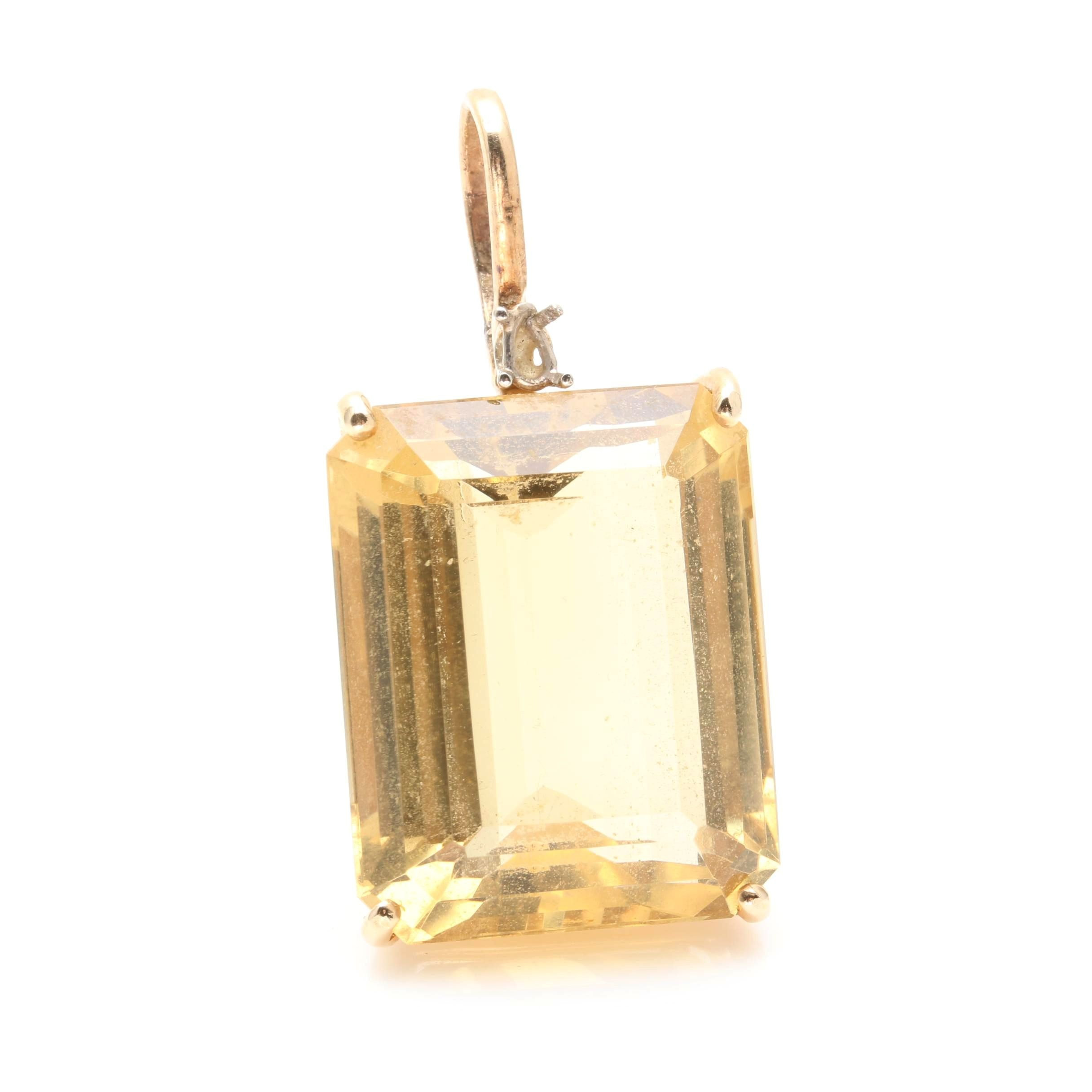 14K Yellow Gold 34.42 CT Citrine Pendant