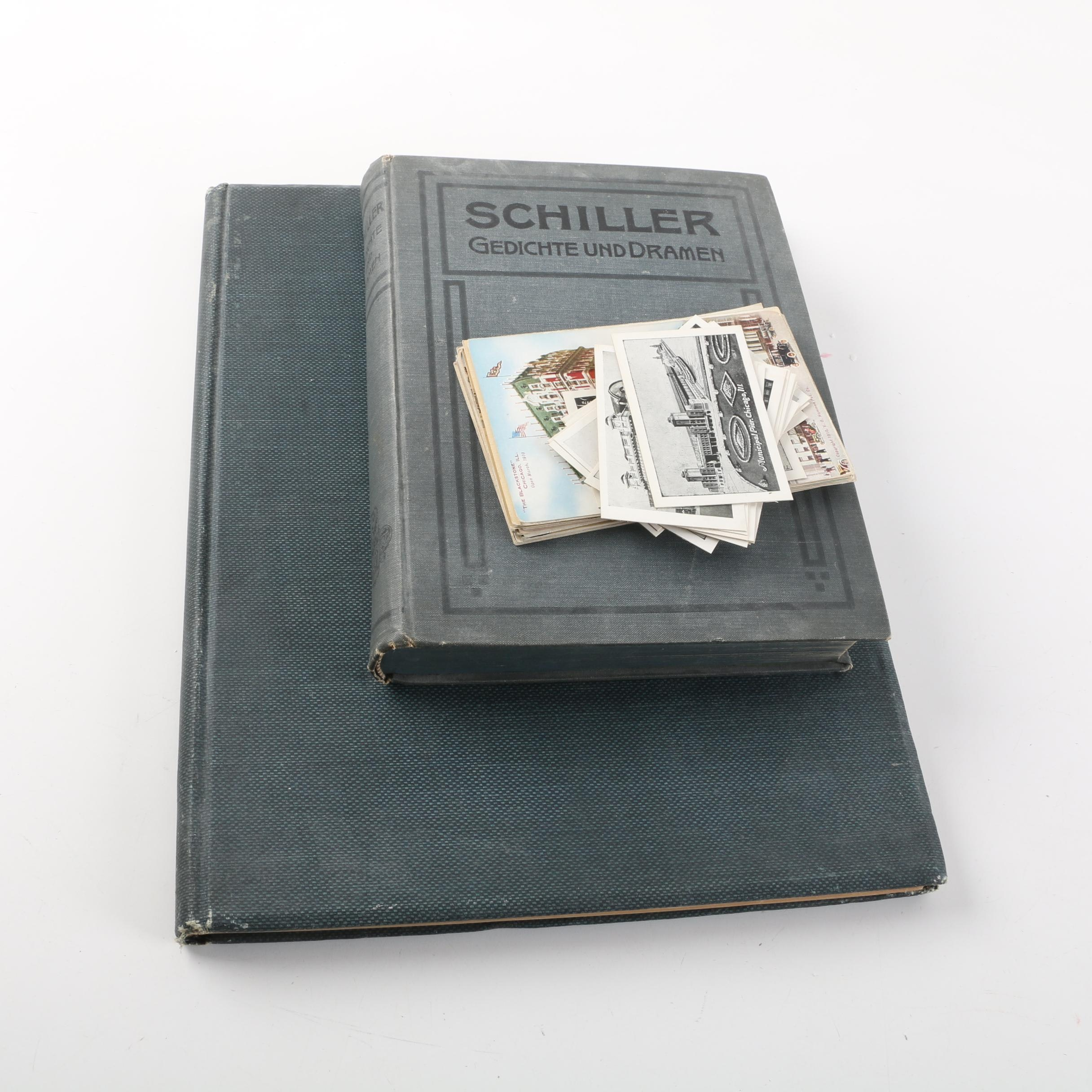 German Language Books Commemorating Schiller and Chicago Architecture Postcards