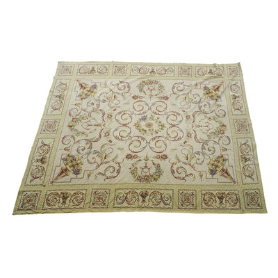 Vintage Needlepoint Aubusson Style Wool Room Size Rug