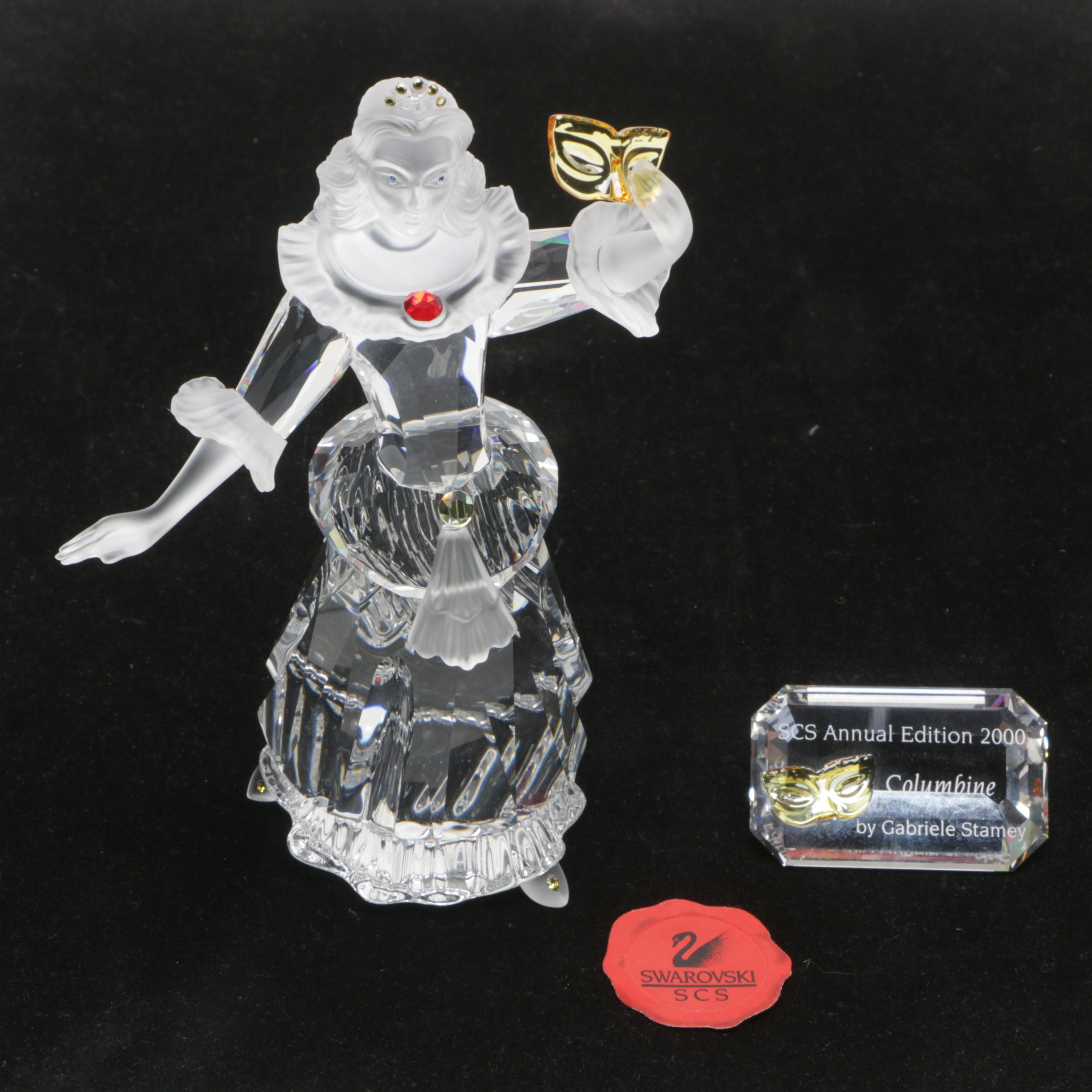 "Swarovski Crystal ""Columbine"" Figurine and Plaque"