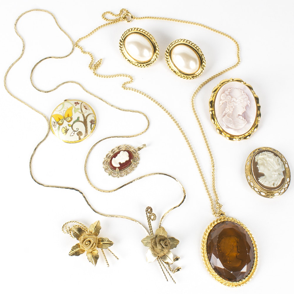 Gold Tone Costume Cameo Brooches and Jewelry Assortment