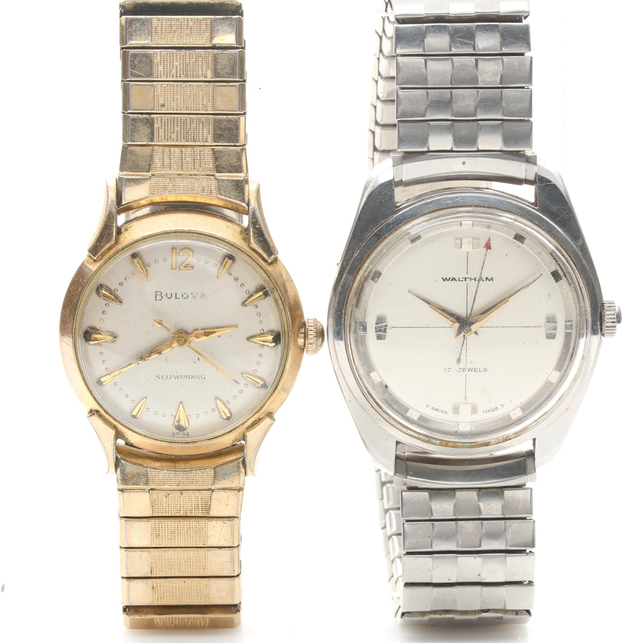 Waltham Stainless Steel and Bulova Gold Plate Wristwatches