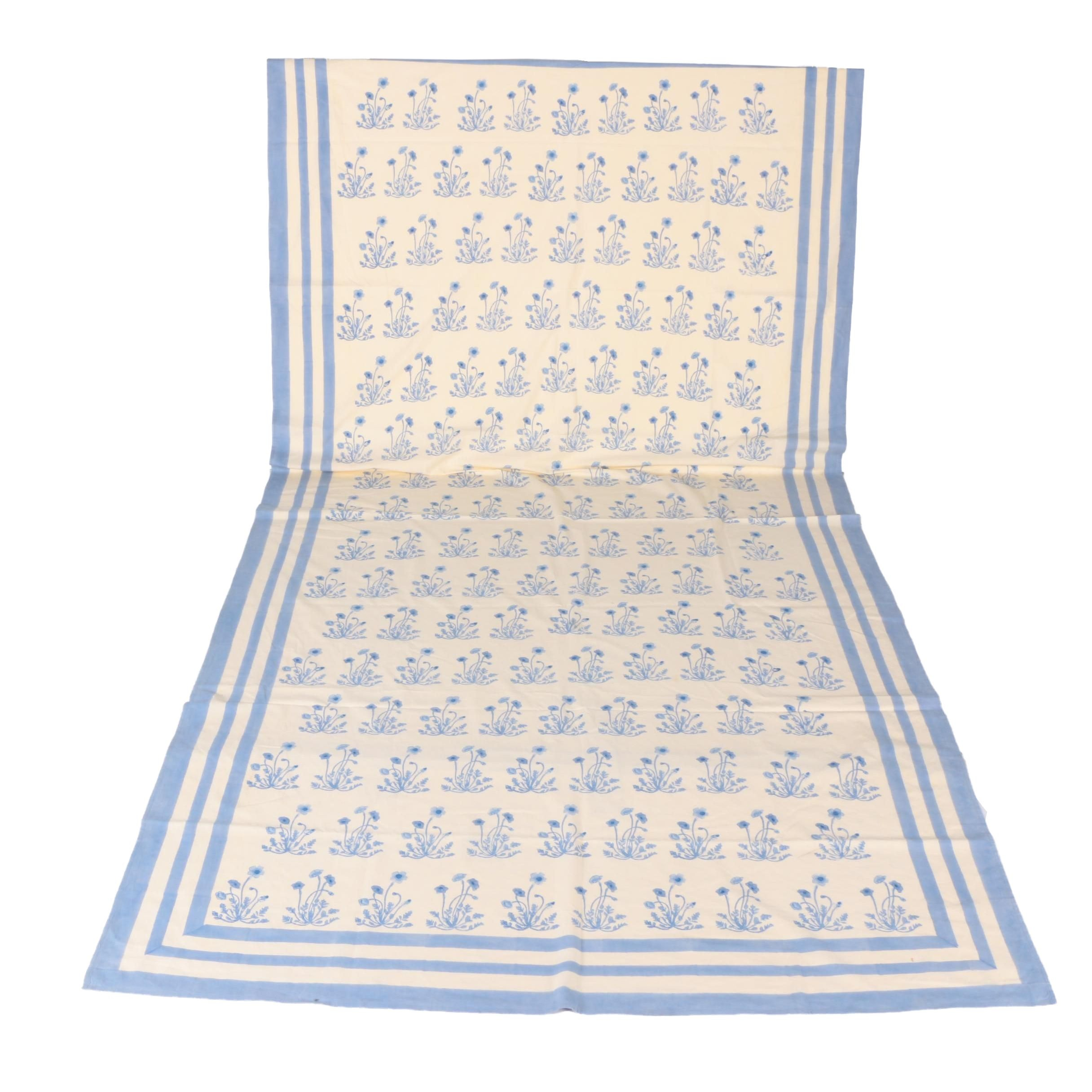 Vintage Couleur Nature Blue and White Floral Print Tablecloth