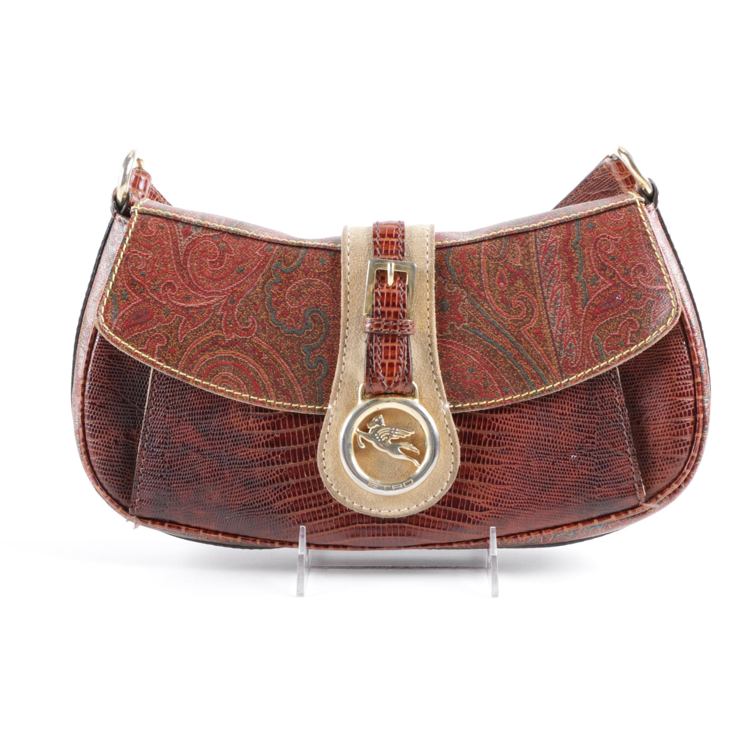 Etro Paisley Canvas and Leather Handbag
