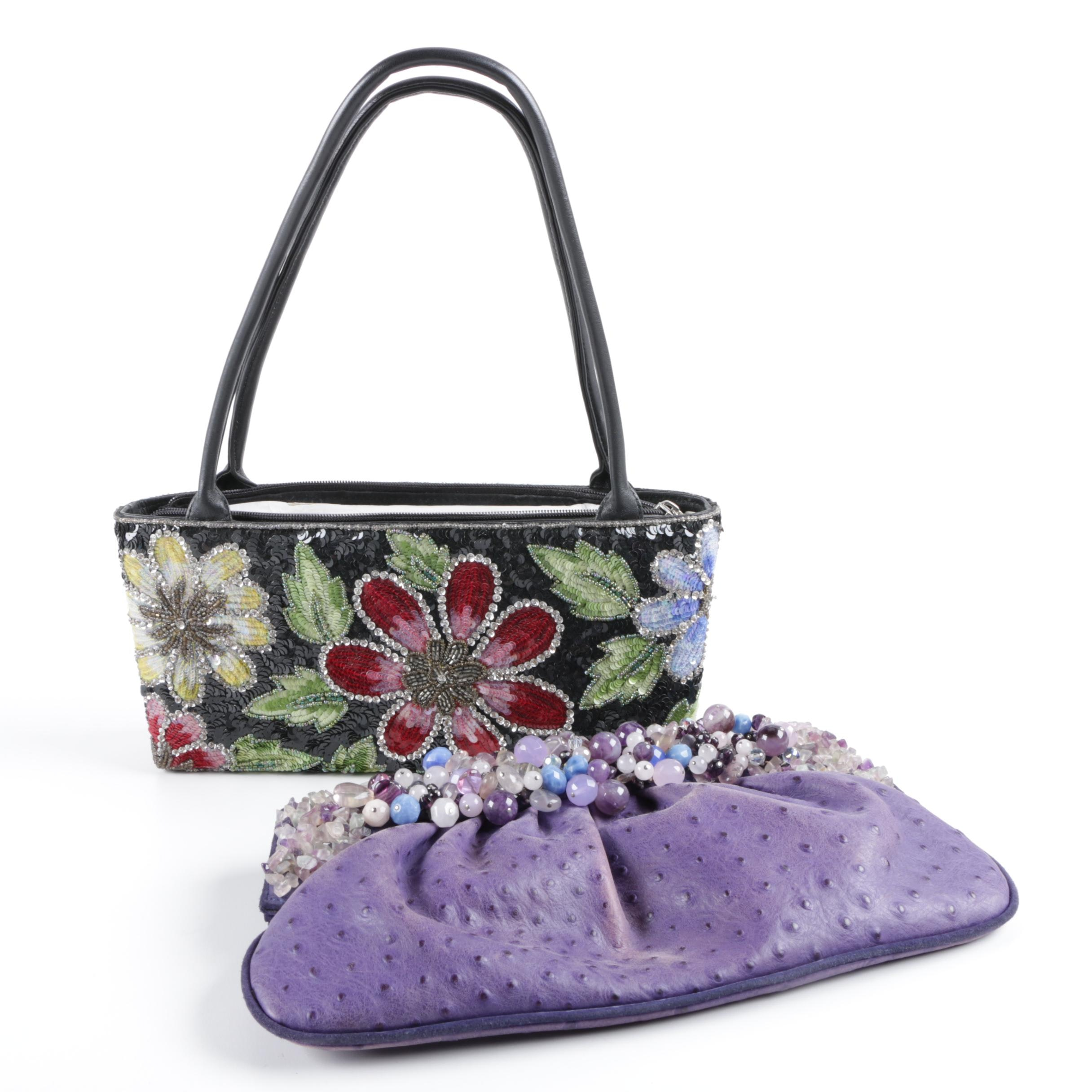 Dyed Ostrich Clutch Embellished with Semi-Precious Stones and Sequined Purse