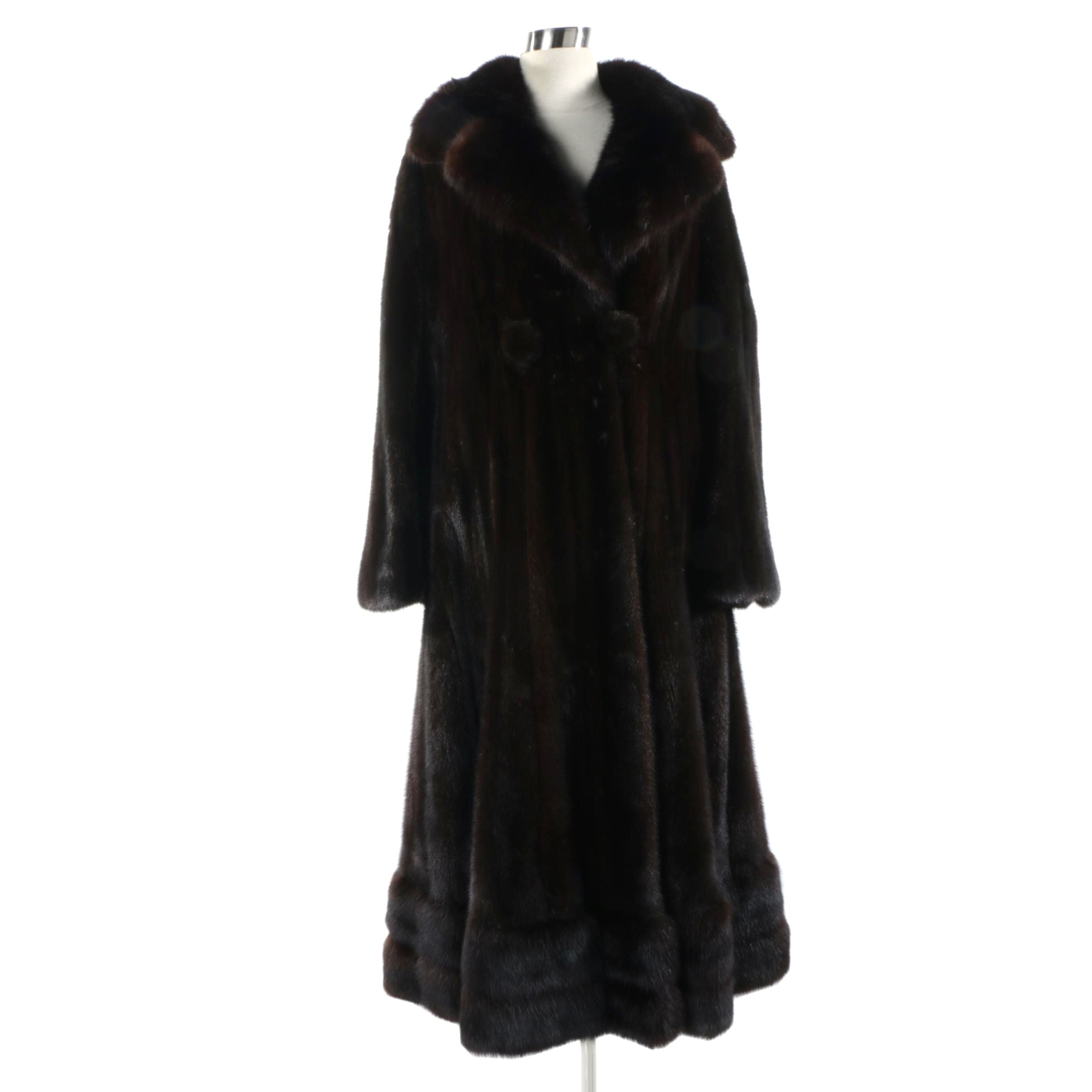 Vintage Blackglama Ranch Mink Fur Full-Length Coat
