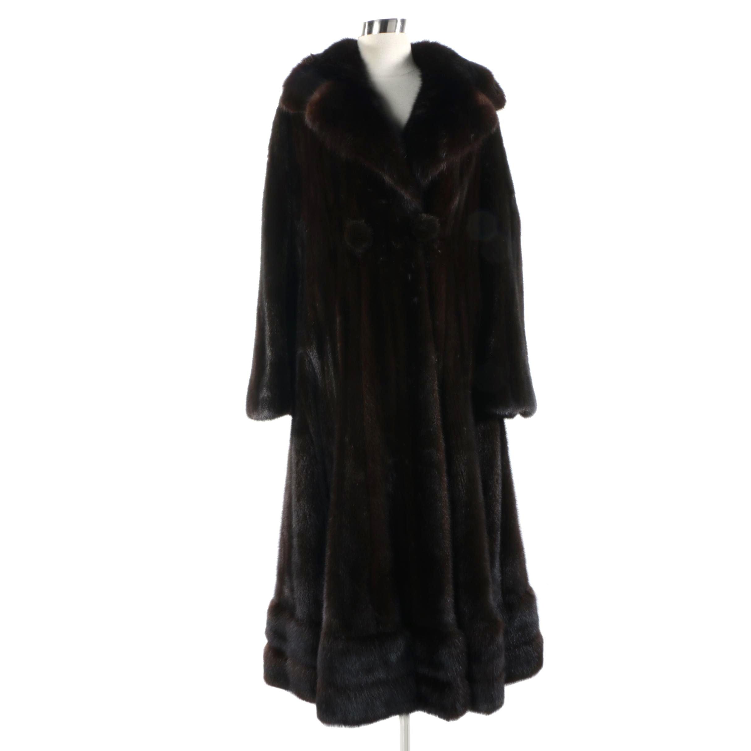 Vintage Blackglama Ranch Mink Fur Full-Length Coat