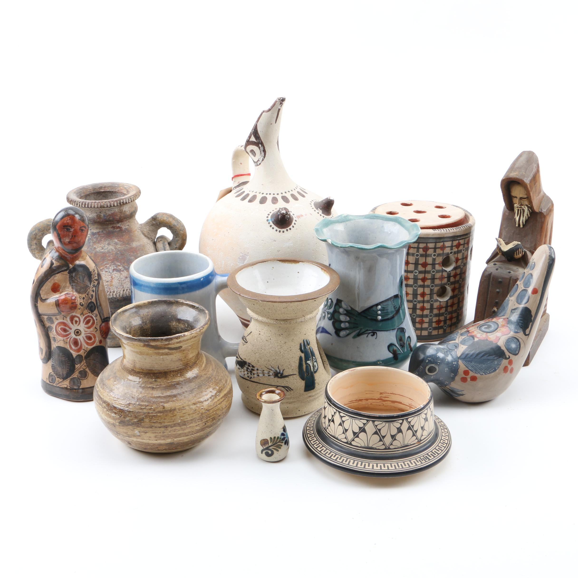Mexican and Greek Style Pottery Vases and Vessels