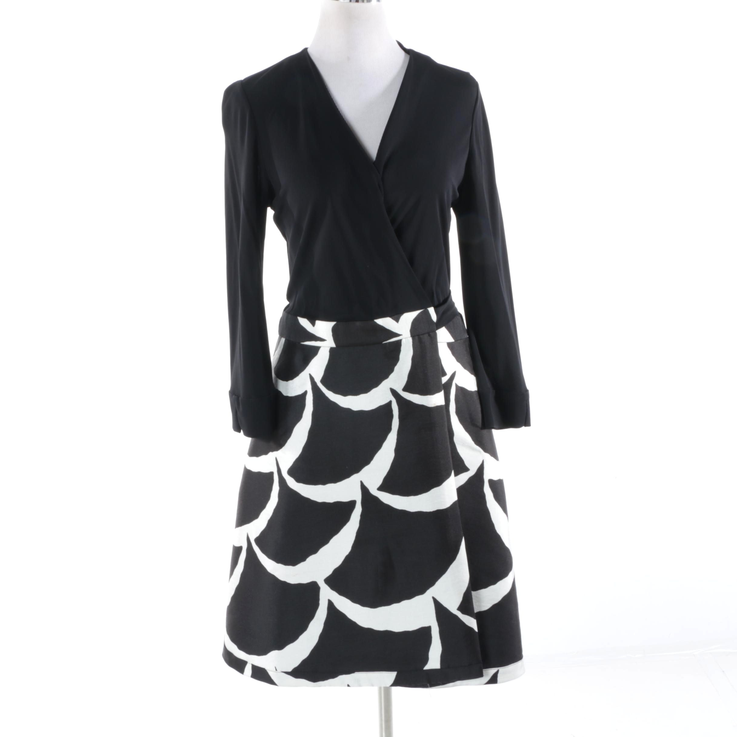 Diane von Furstenberg Black, Brown and White Wrap Dress