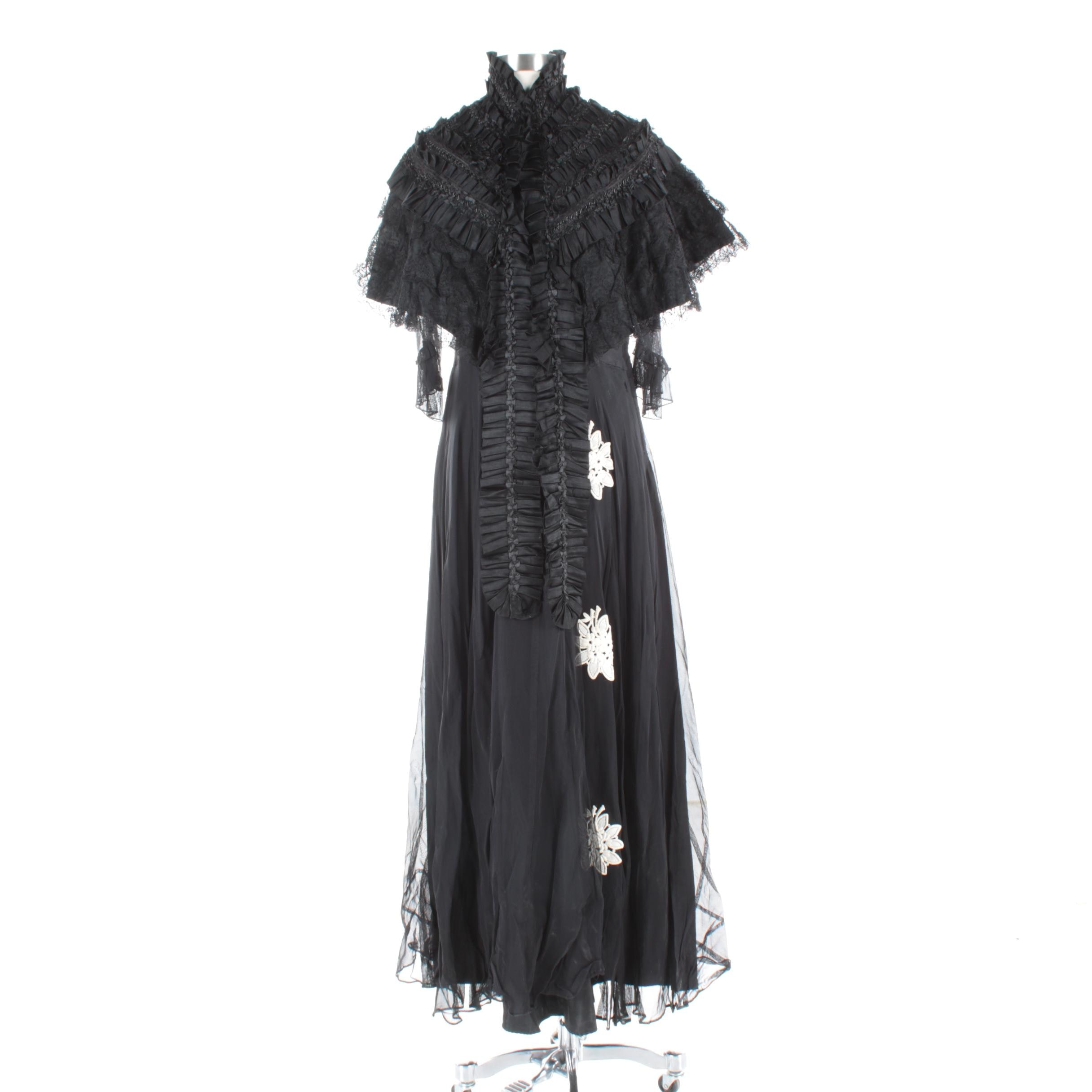 Vintage Black Dress and Victorian Style Black Ruffled Stole
