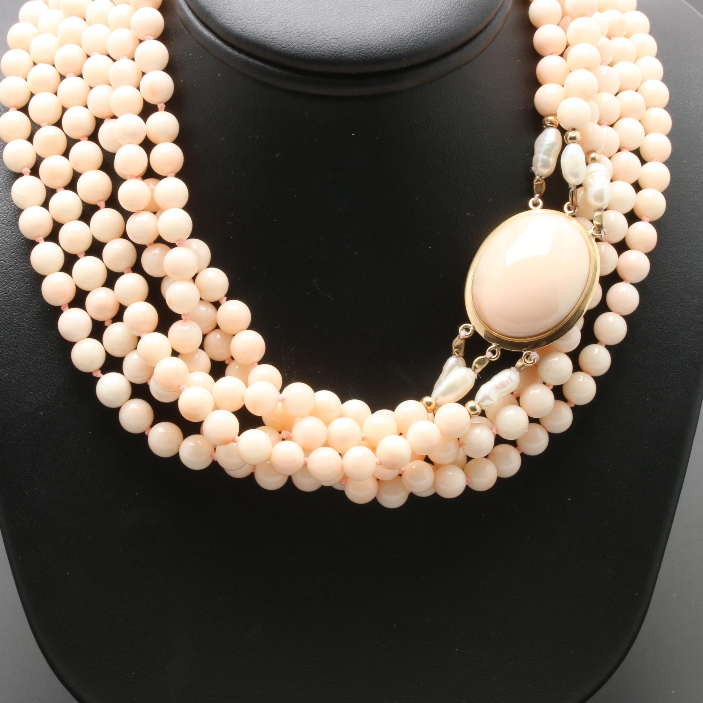 14K Yellow Gold Coral and Cultured Pearl Multi Strand Necklace