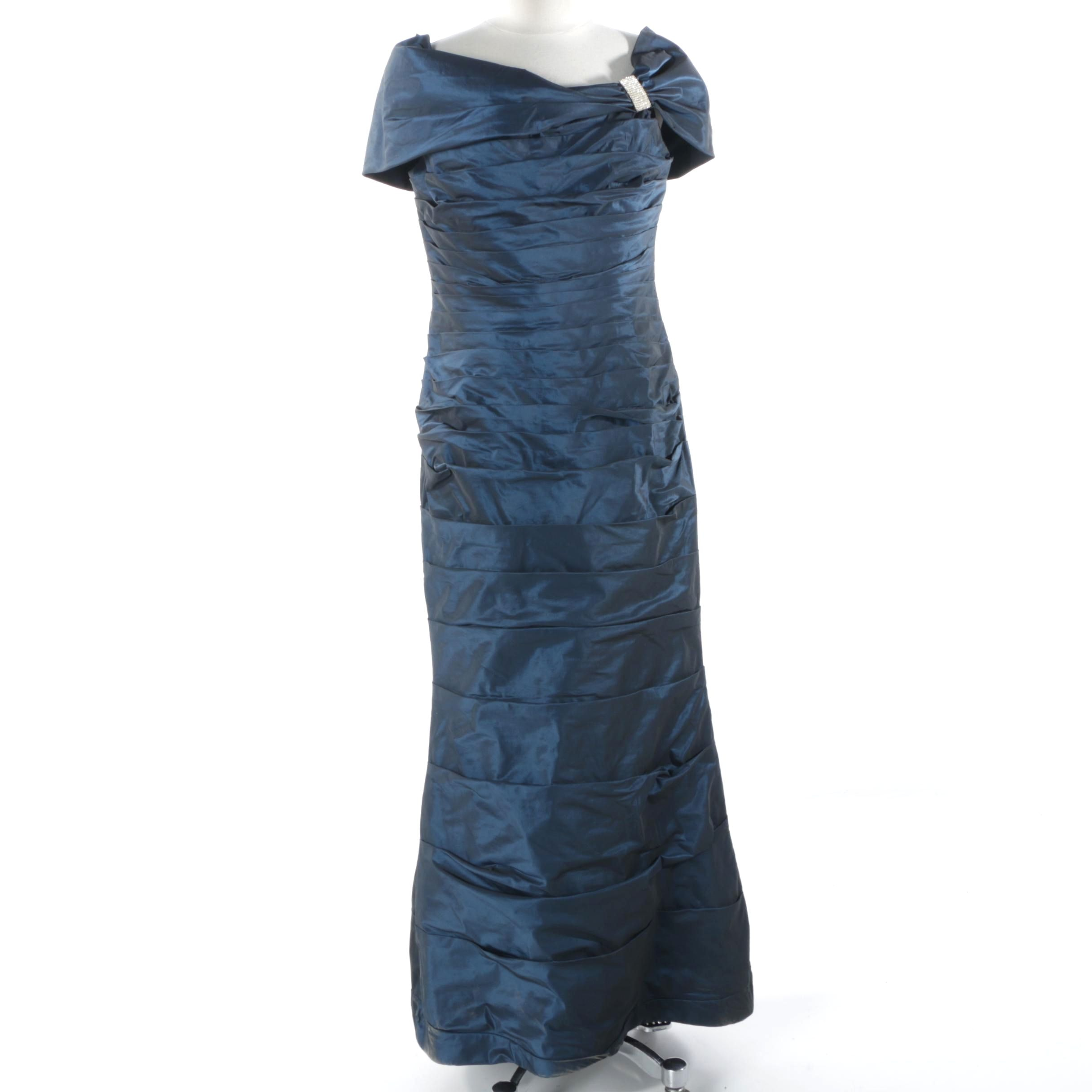 Rickie Freeman Teri Jon Iridescent Blue Pleated Gown