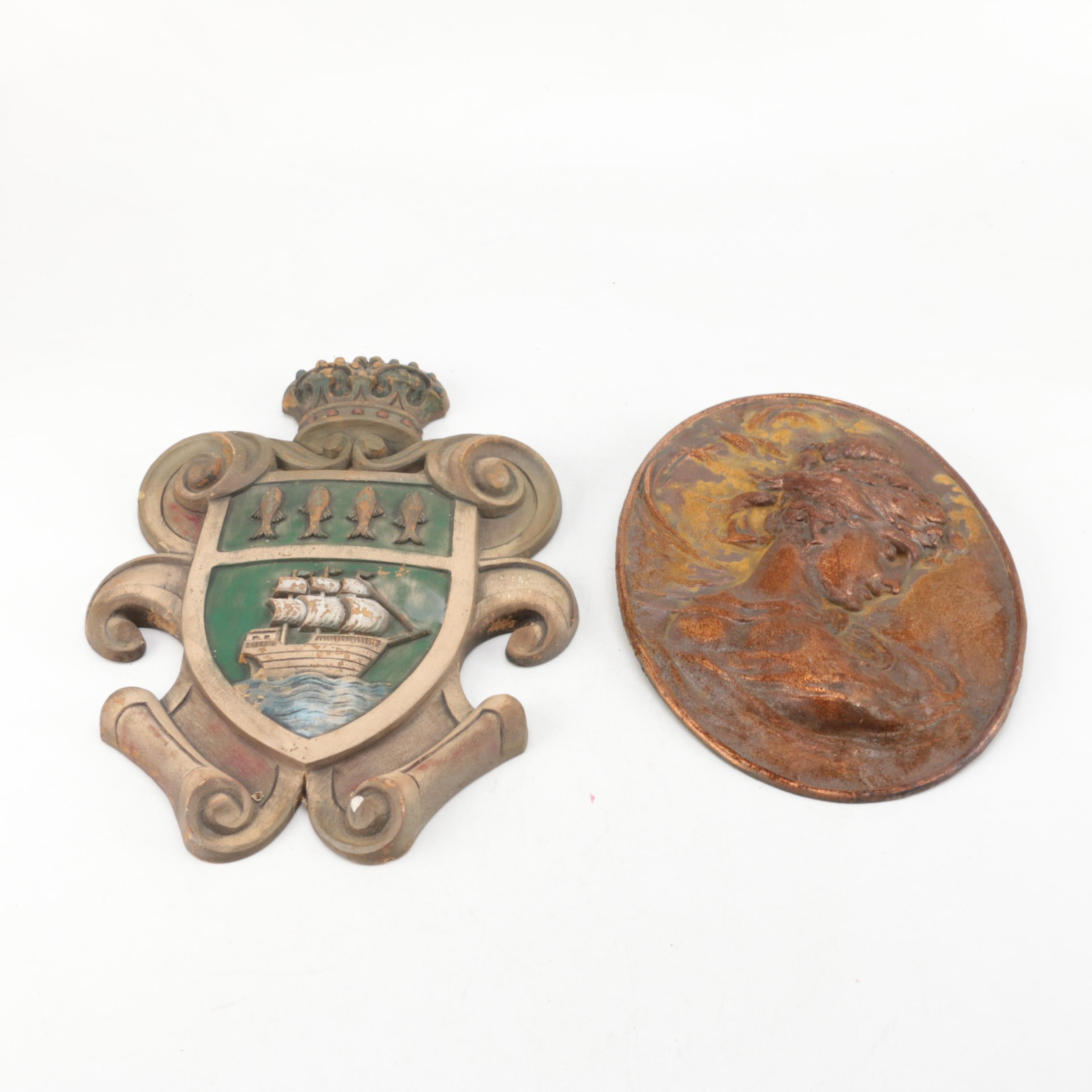 Vintage Burwood Coat of Arms with Metal Cameo Wall Hanging
