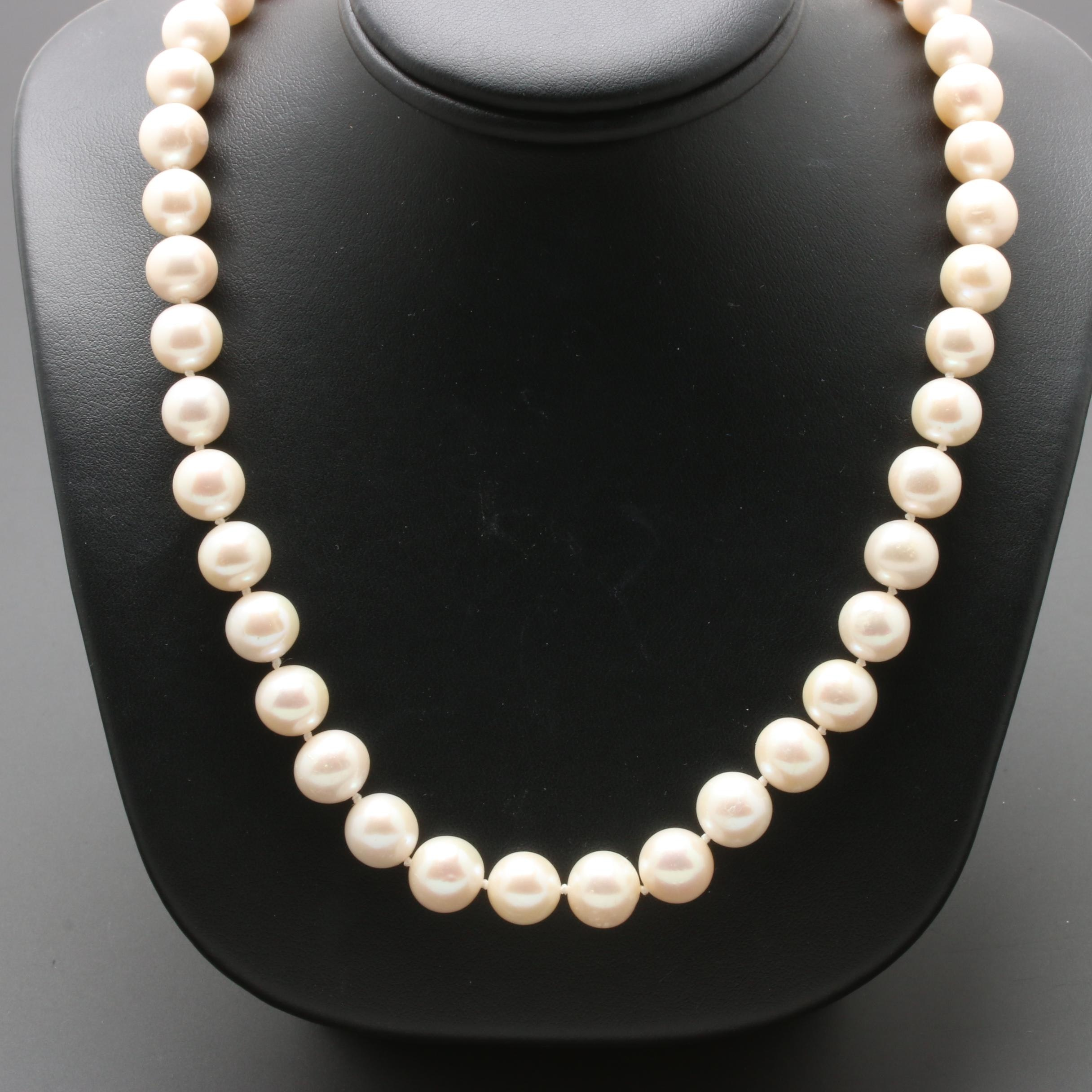 18K White Gold Cultured Pearl Single Strand Necklace