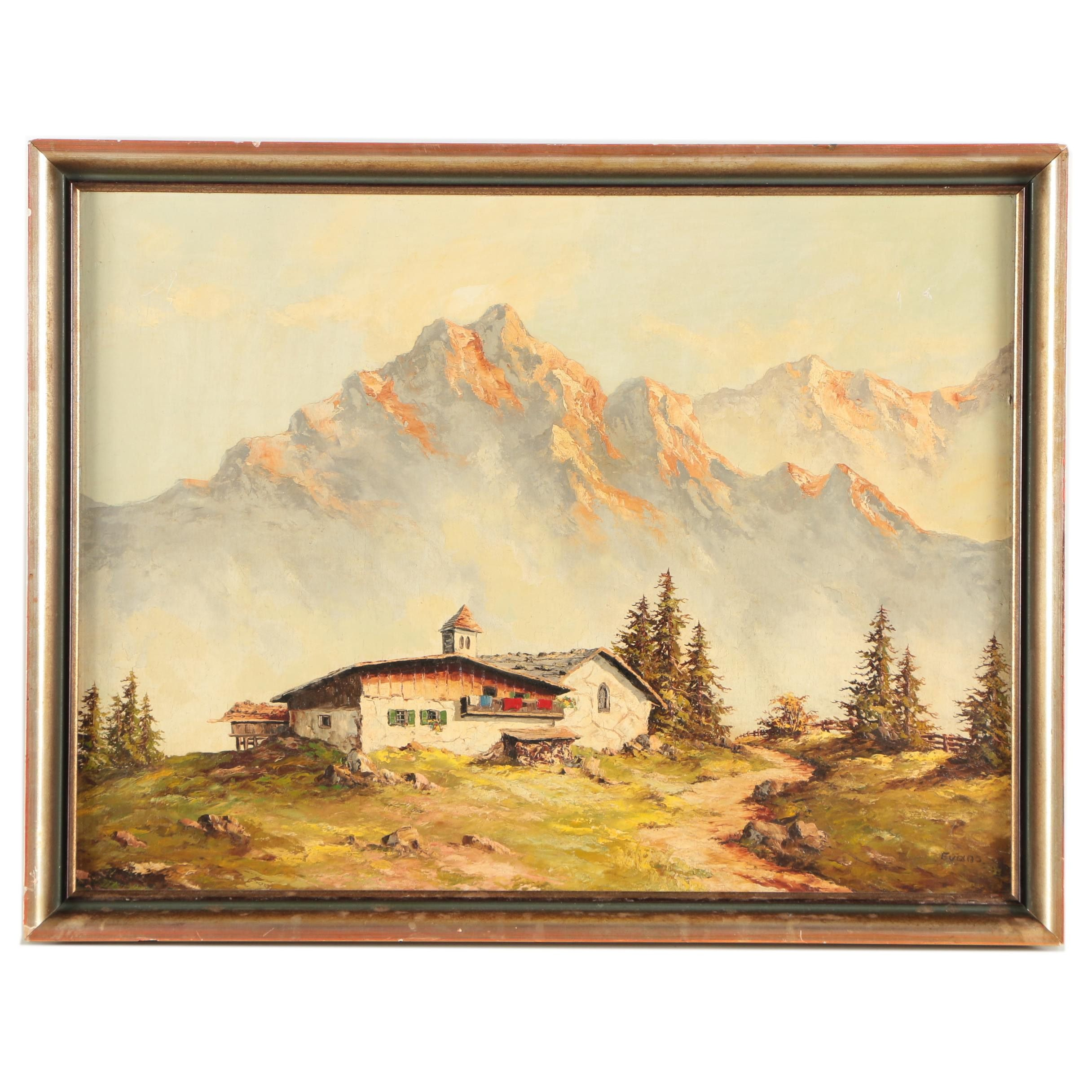 Evans Oil Painting of Mountain Landscape