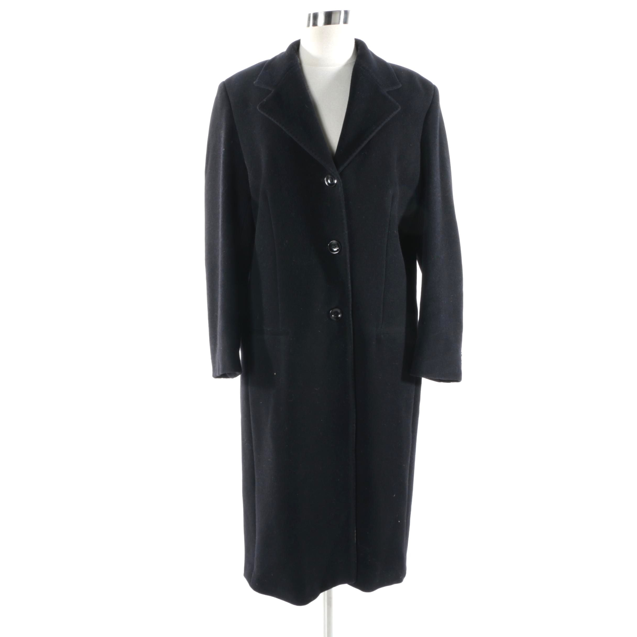 Women's Max Mara Black Wool Blend Overcoat