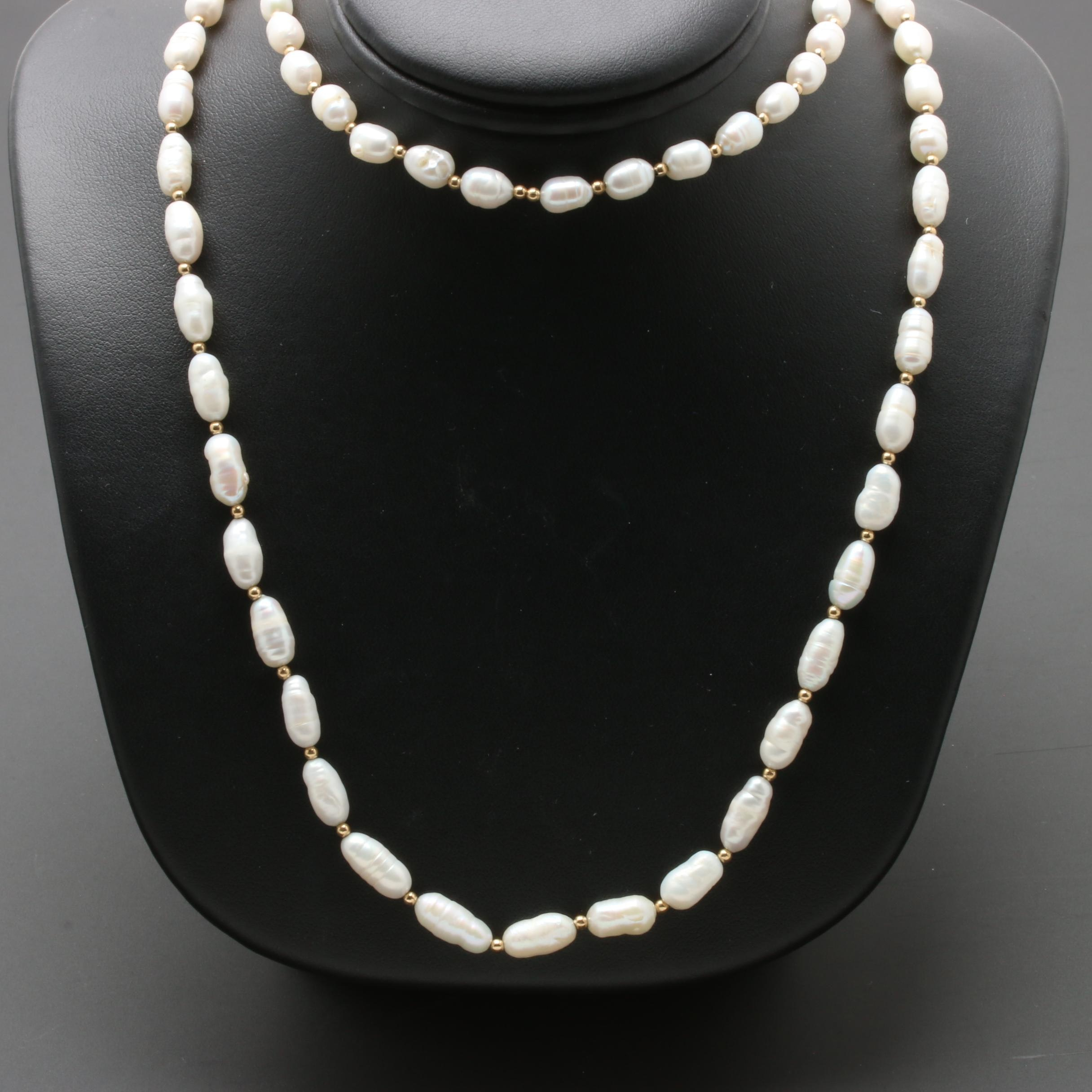 14K Yellow Gold Cultured Pearl Double Strand Necklace