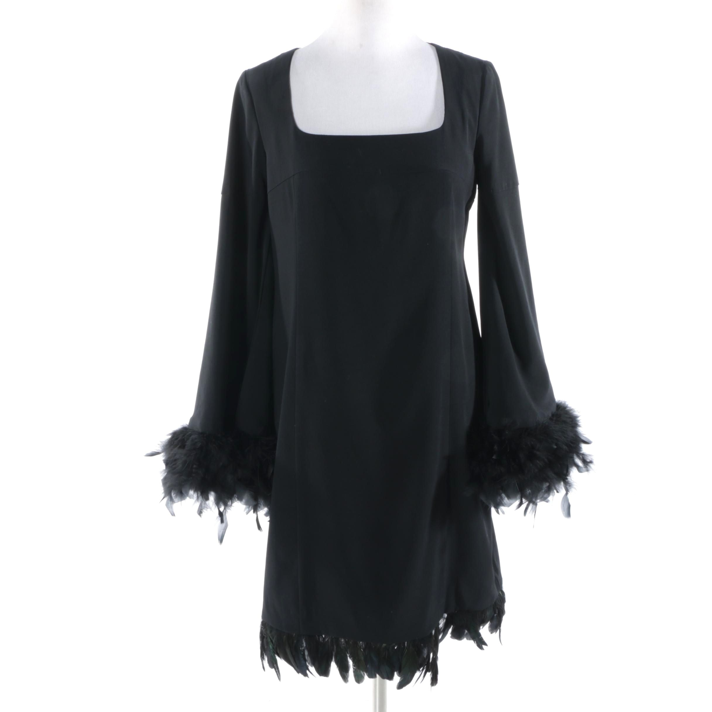 Nanette Lepore Black Cocktail Dress with Marabou and Hackle Feather Trim