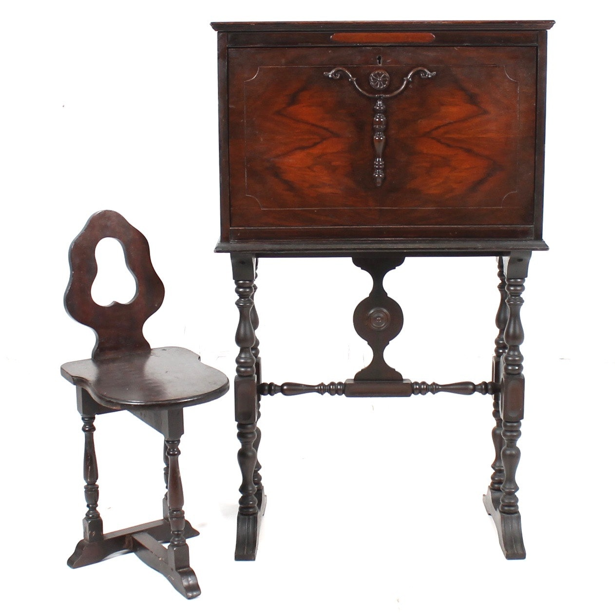 Jacobean Style Walnut Secretary With Chair