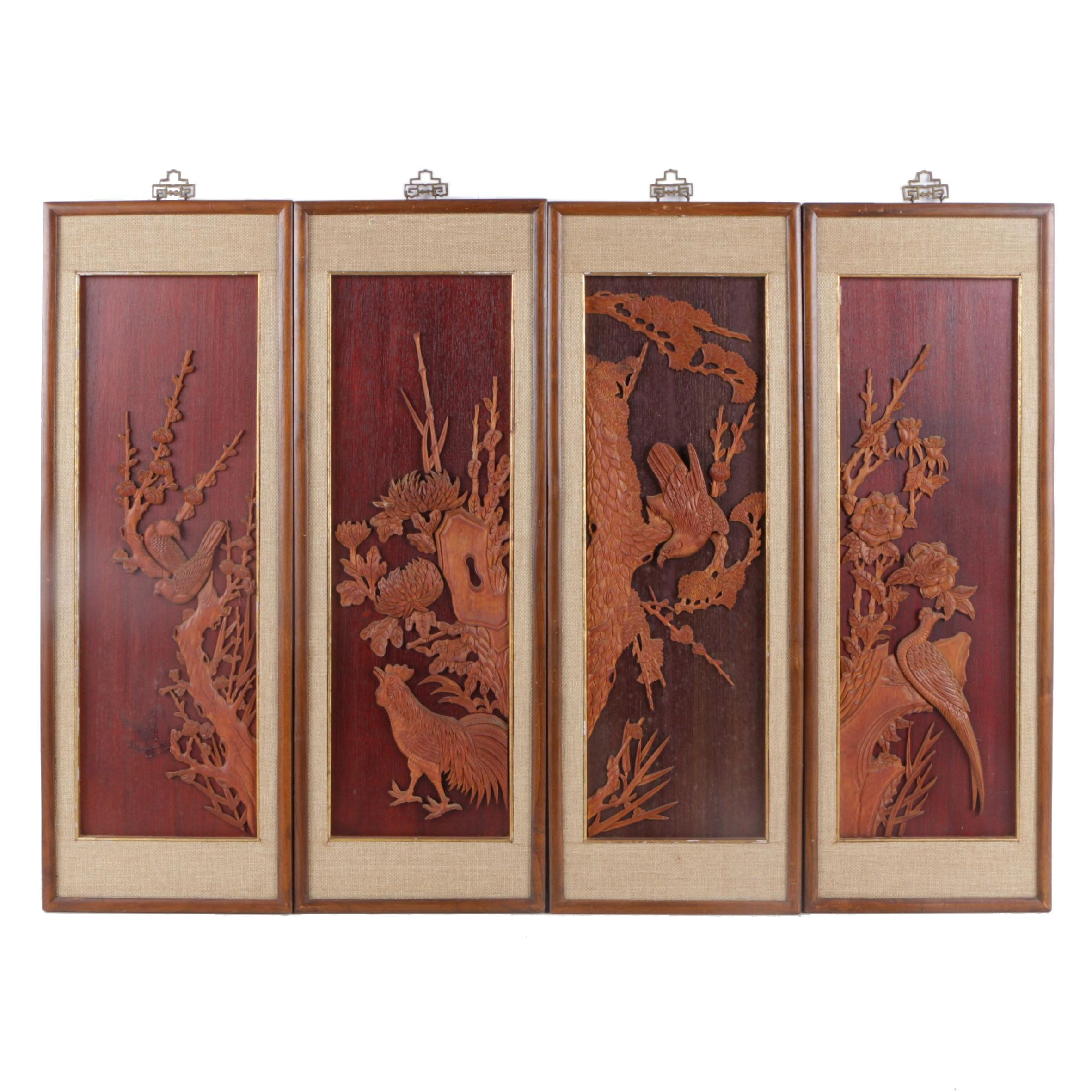Four Chinese Hand-Carved Wood Panels of Birds
