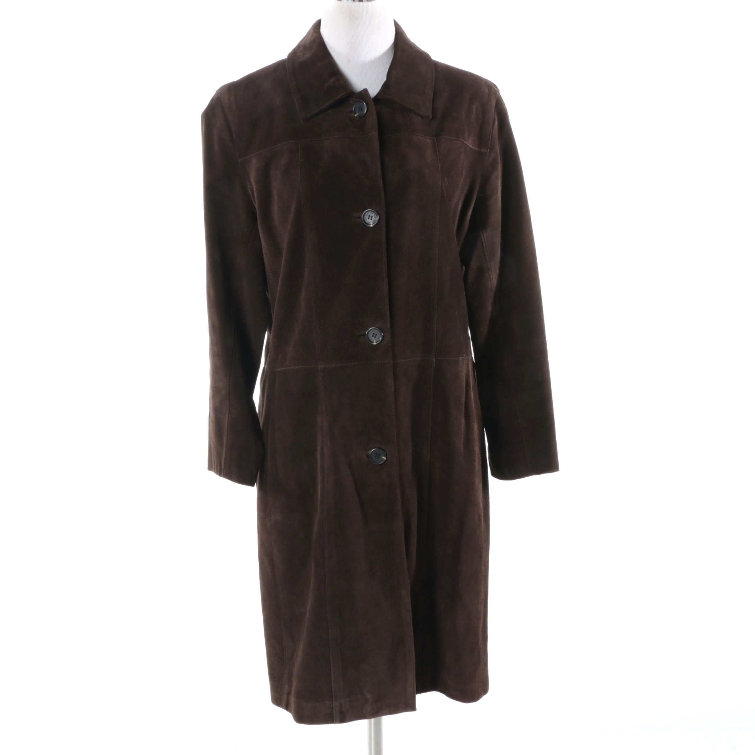 Marc Andrew Marc Dark Brown Suede Coat